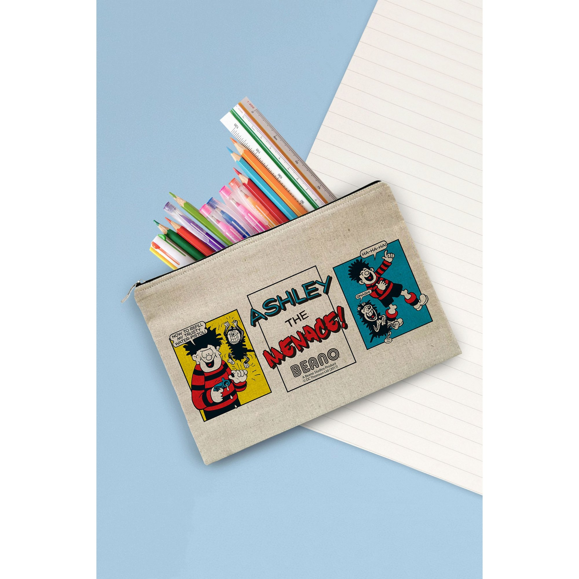 Image of Personalised Beano Water Pistol Canvas Pencil Case