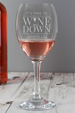 Personalised Its Time to Wine Down Wine Glass