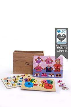 Personalised Wooden Puzzles - Pink Teddy