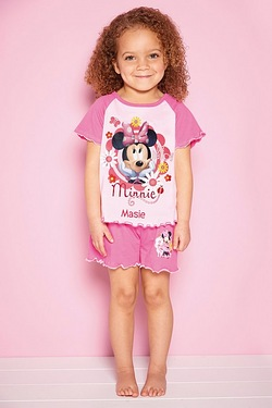 Young Girls Personalised Minnie Mouse Shortie Pyjamas