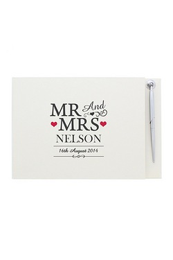 Personalised Mr and Mrs Guest Book and Pen