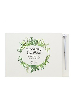 Personalised Fresh Botanical Guest Book and Pen