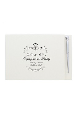 Personalised Ornate Swirl Guest Book and Pen