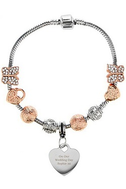 Personalised Rose Gold Charm Bracelet 21cm