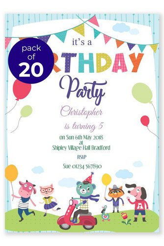 personalised 20 animal party invitations studio
