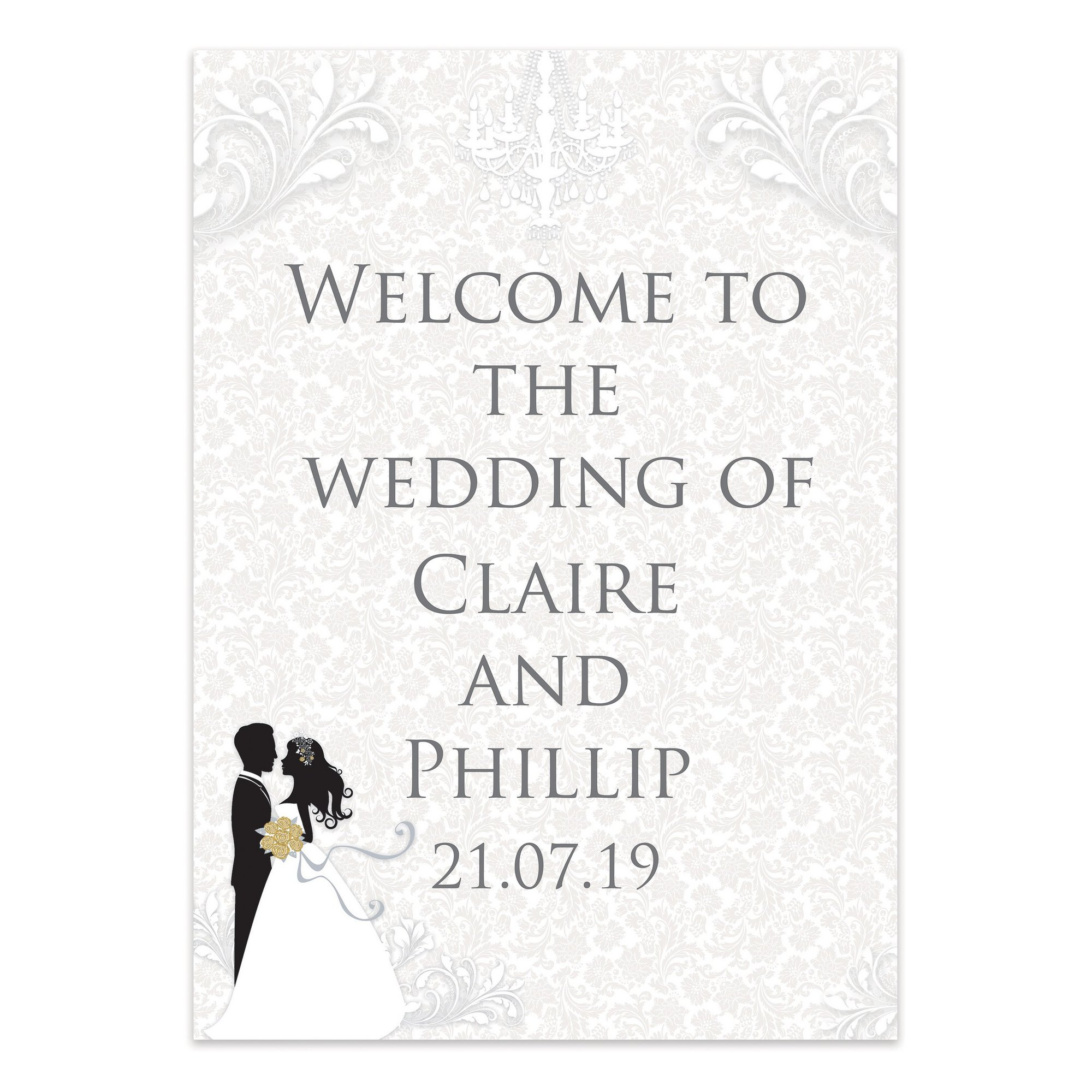 Image of Personalised Silhouette Welcome Wedding Sign