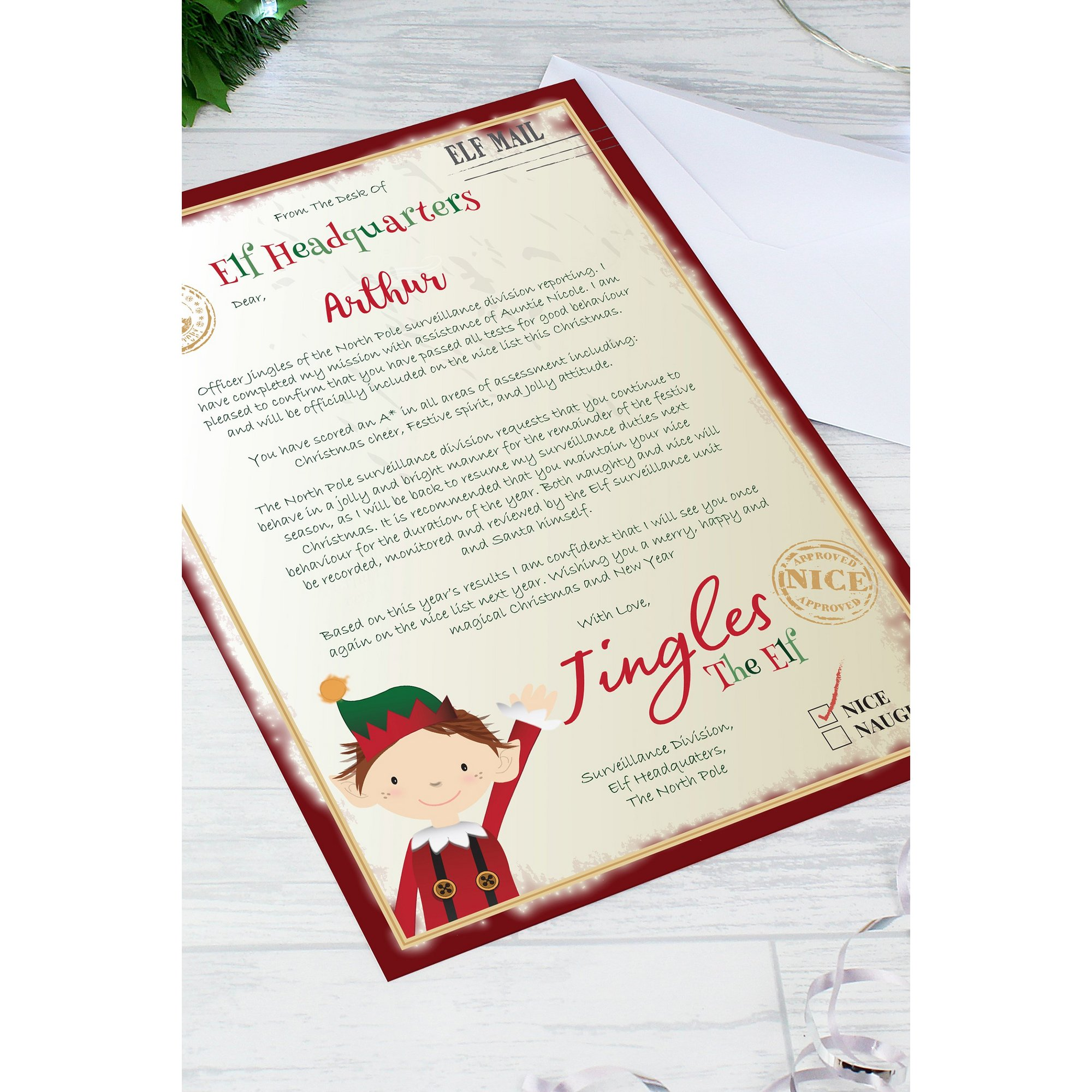 Image of Personalised Elf Surveillance Christmas Letter