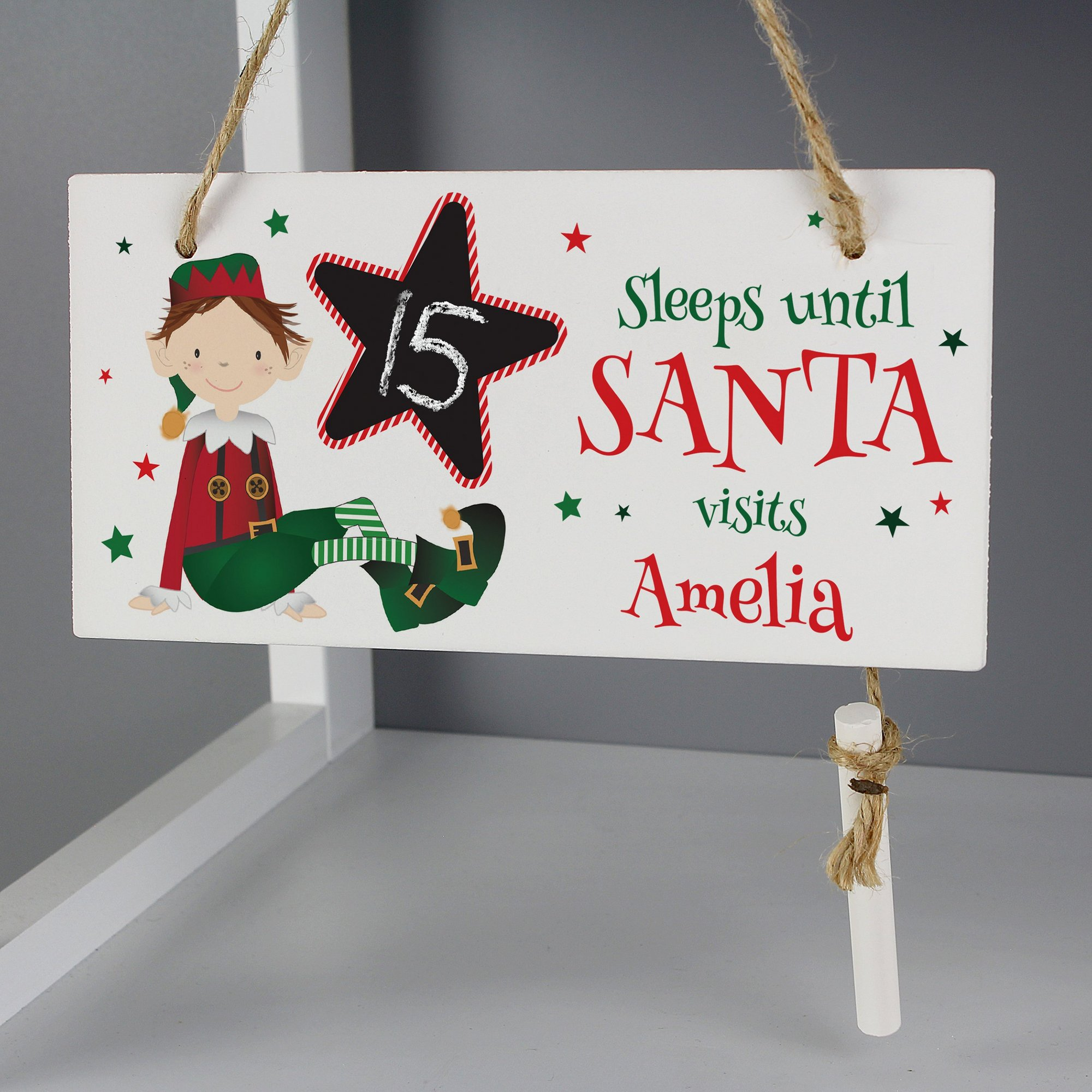 Image of Personalised Elf Christmas Countdown Chalk Sign