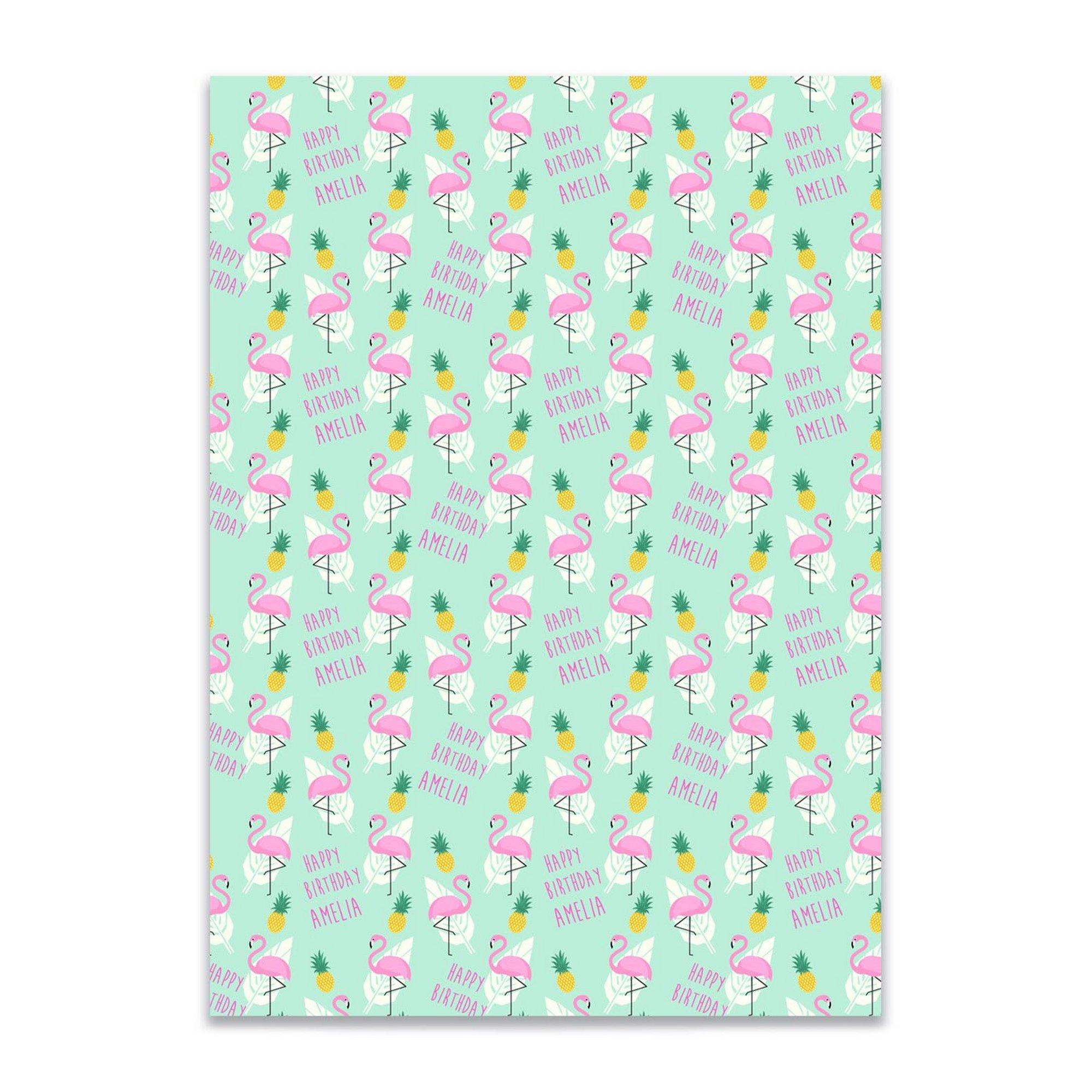 Image of Personalised Flamingo and Pinapple Gift Wrap