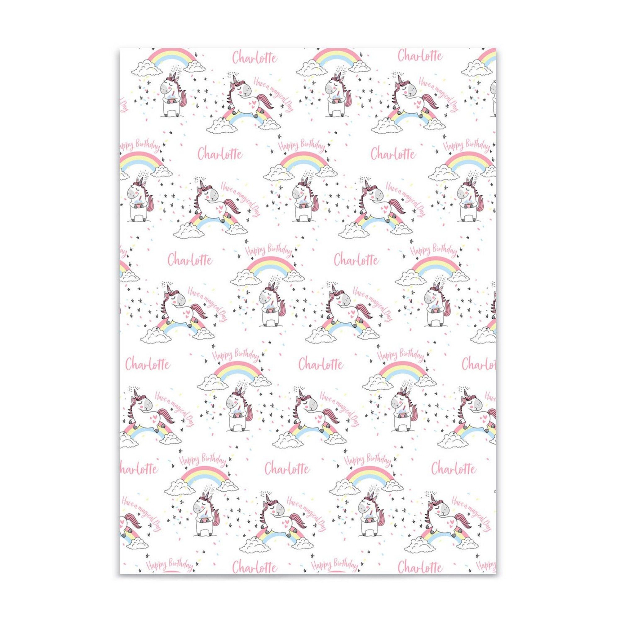 Image of Unicorn Kids Personalised Gift Wrap