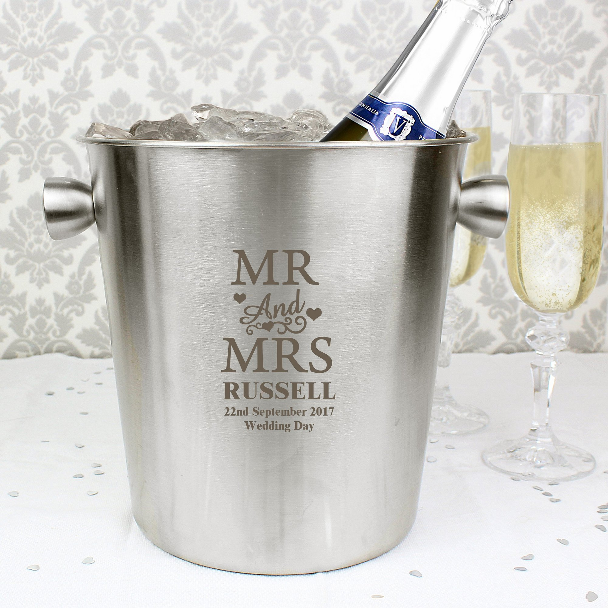 Image of Personalised Mr and Mrs Stainless Steel Ice Bucket