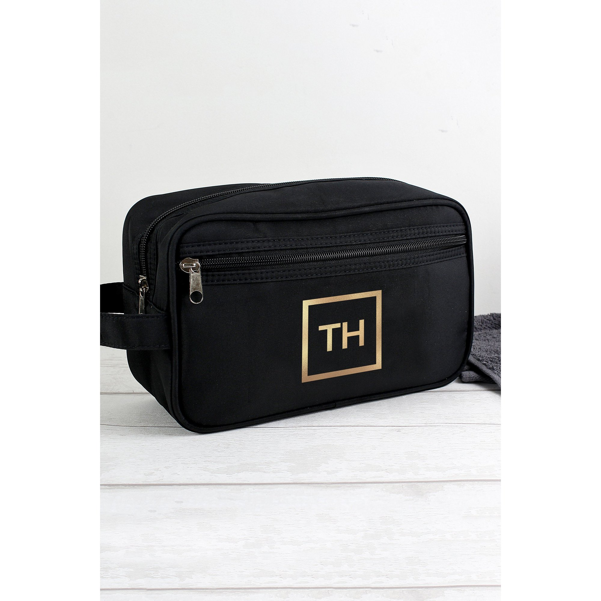 Image of Personalised Gold Initials Black Wash Bag