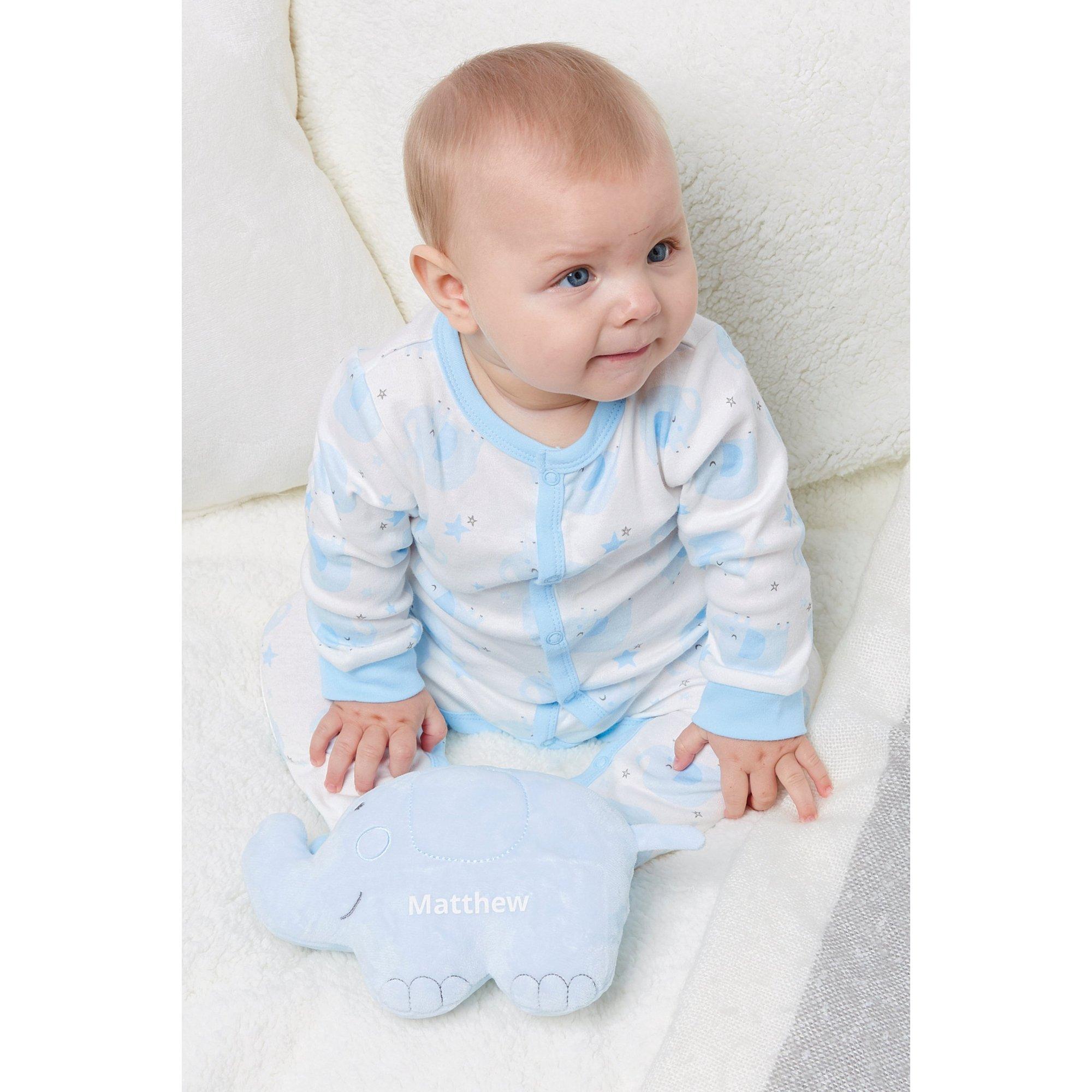 Image of Baby Blue Sleepsuit with Personalised Elephant Toy