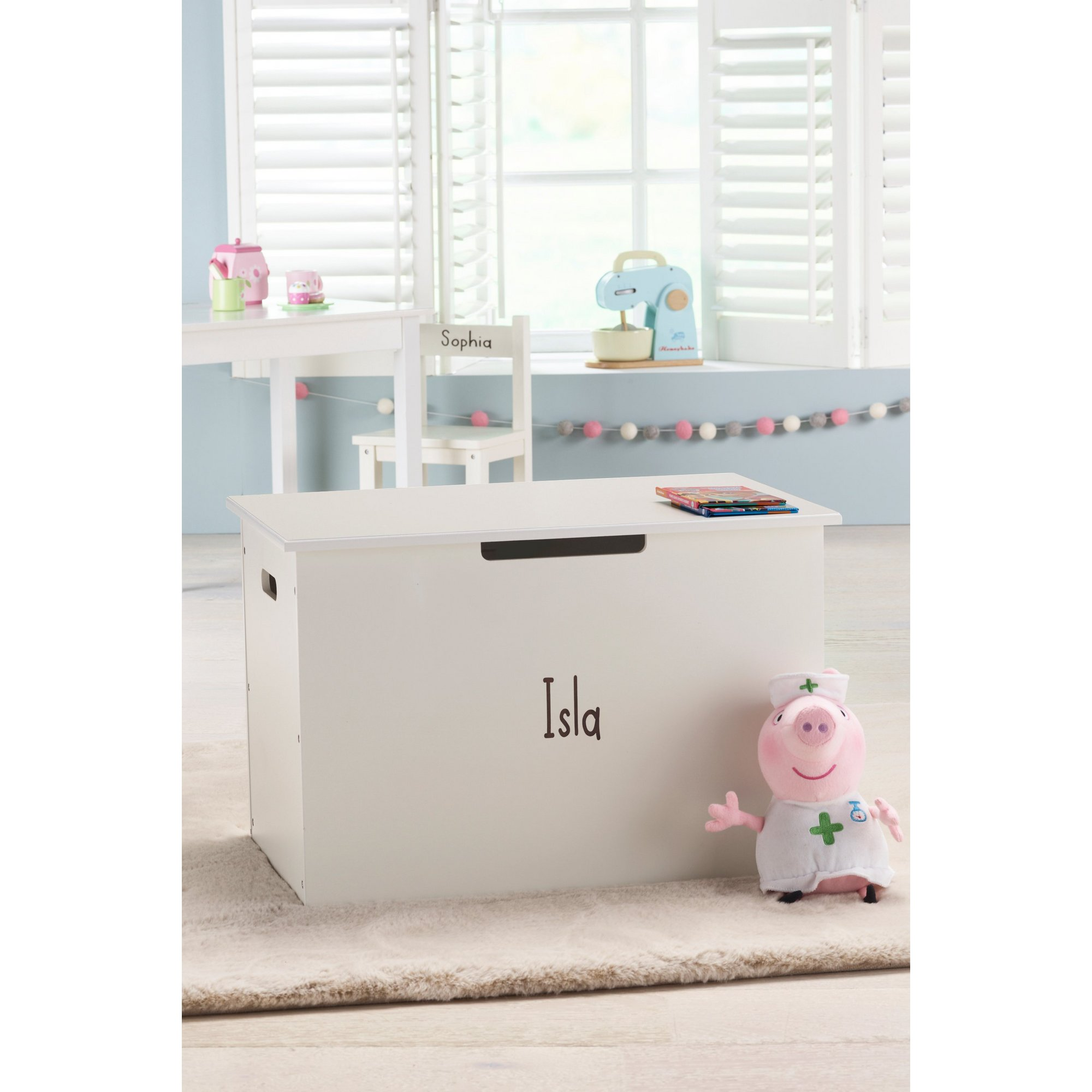 Image of Personalised Panelled Wooden Toy Chest with Hinged Lid