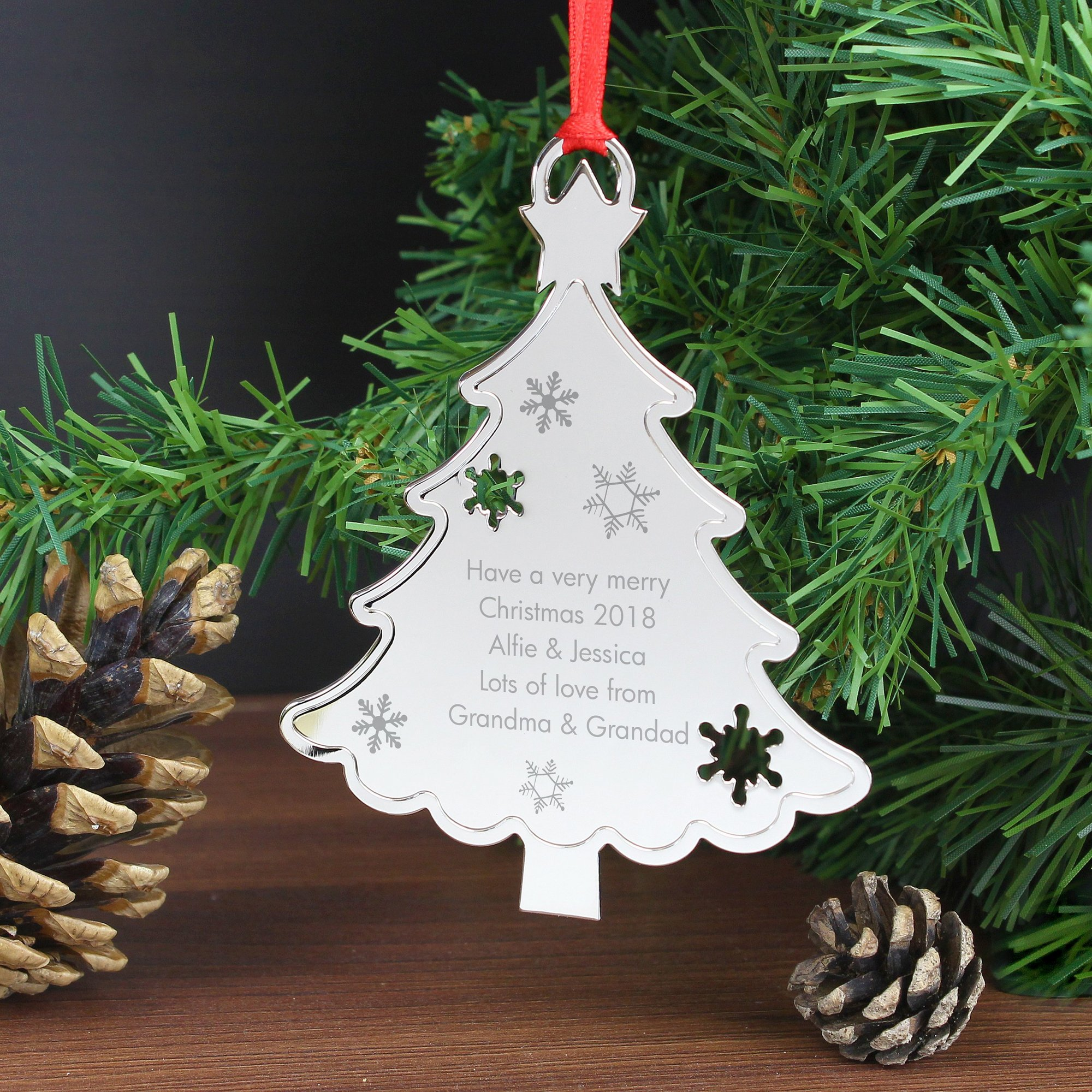 Image of Personalised Any Message Christmas Tree Decoration