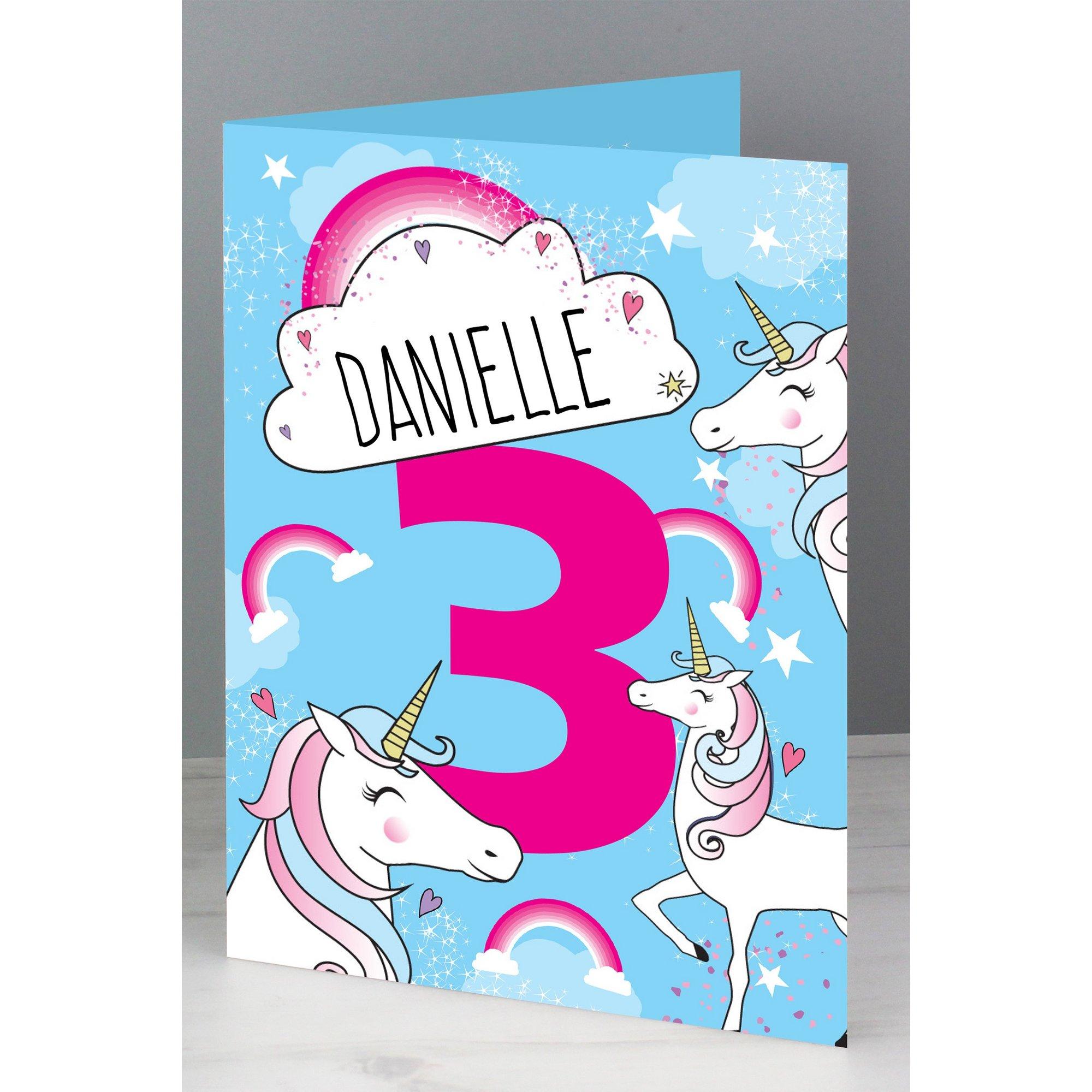 Image of Personalised Unicorn Birthday Card