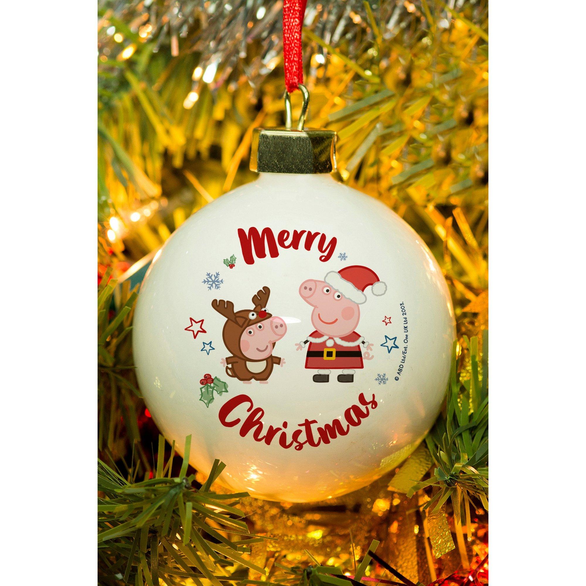 Image of Personalised Peppa Pig and George Pig Christmas Bauble