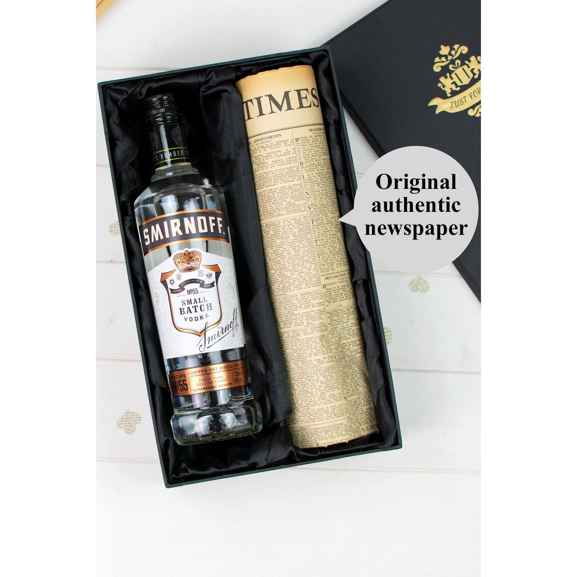 Image of Black Smirnoff Vodka and Personalised Original Newspaper