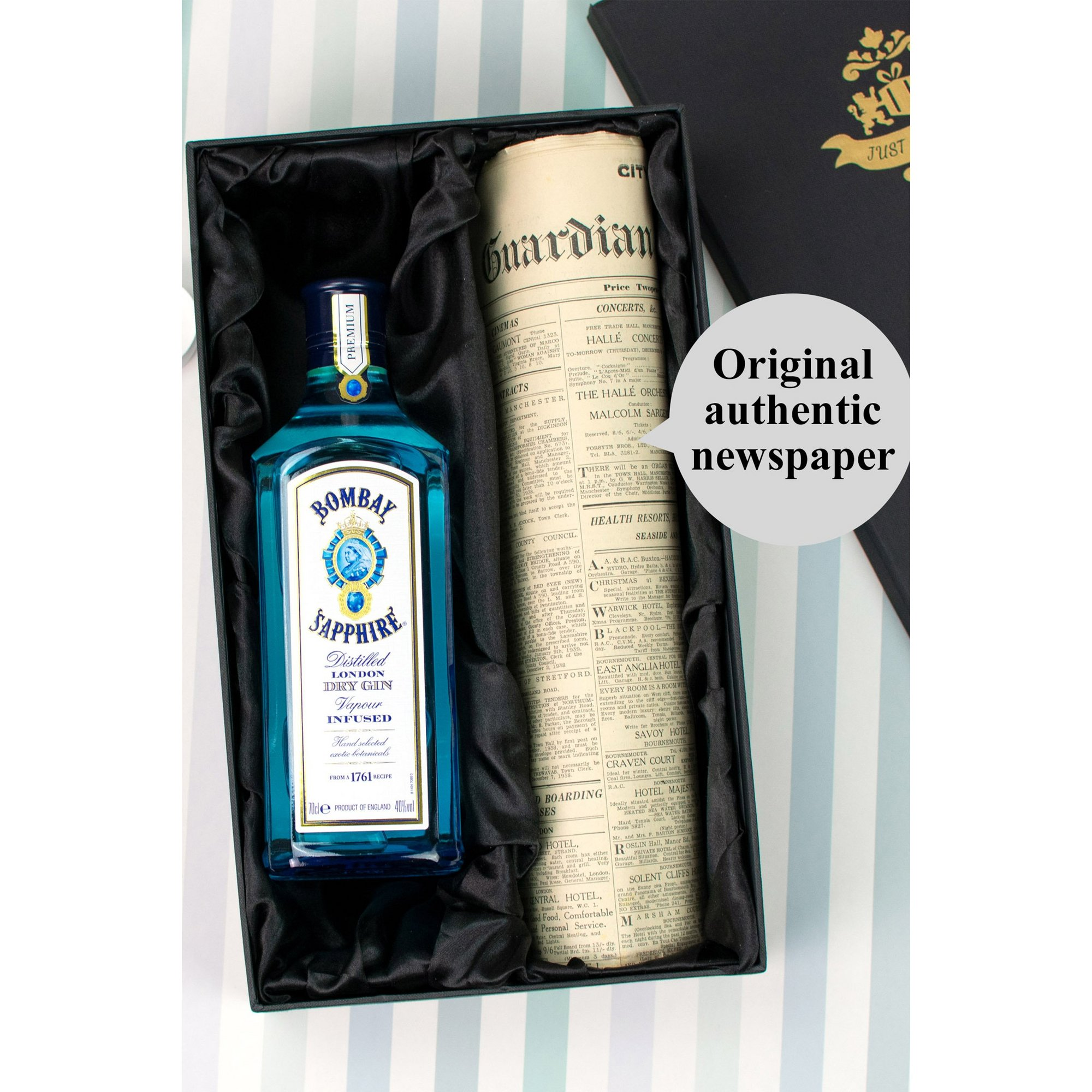 Image of Bombay Sapphire Gin and Personalised Original Newspaper