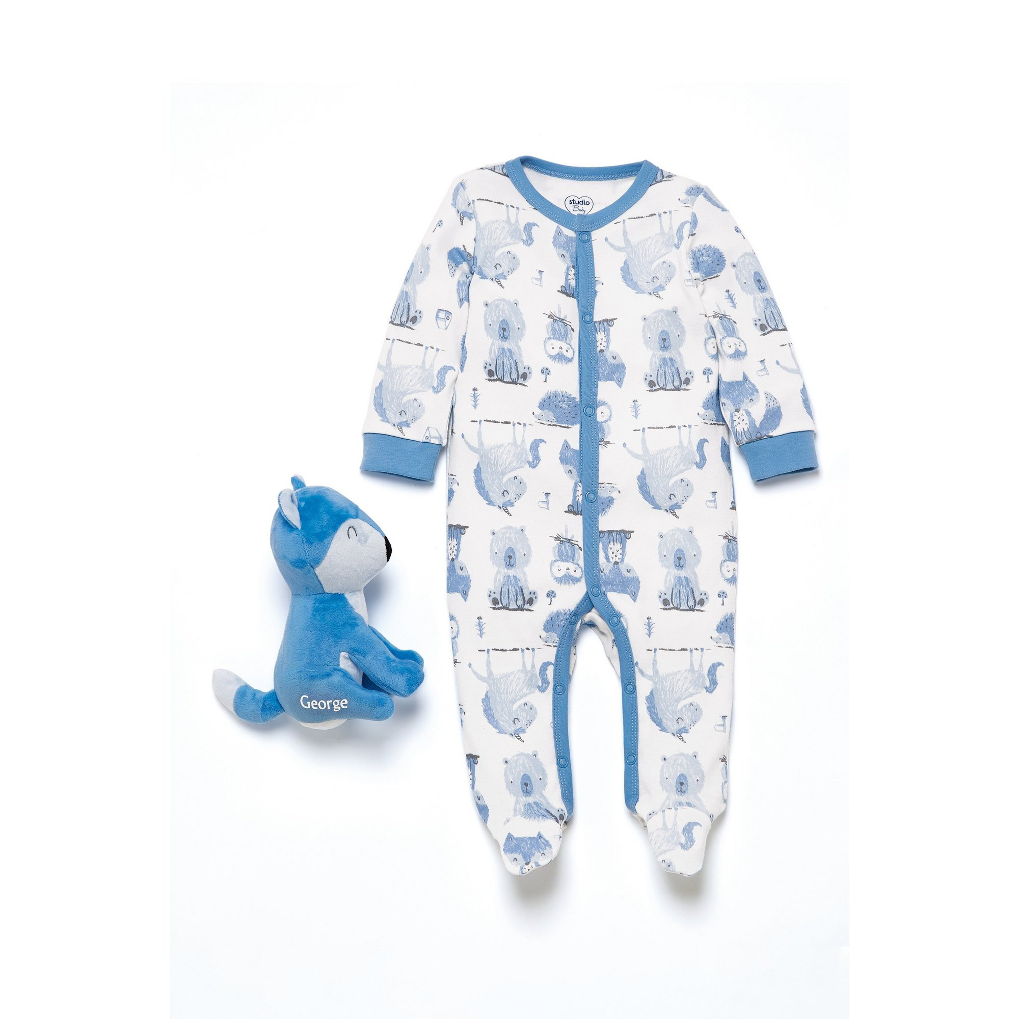 Image of Baby Boys 2 Piece Sleepsuit with Personalised Fox Toy