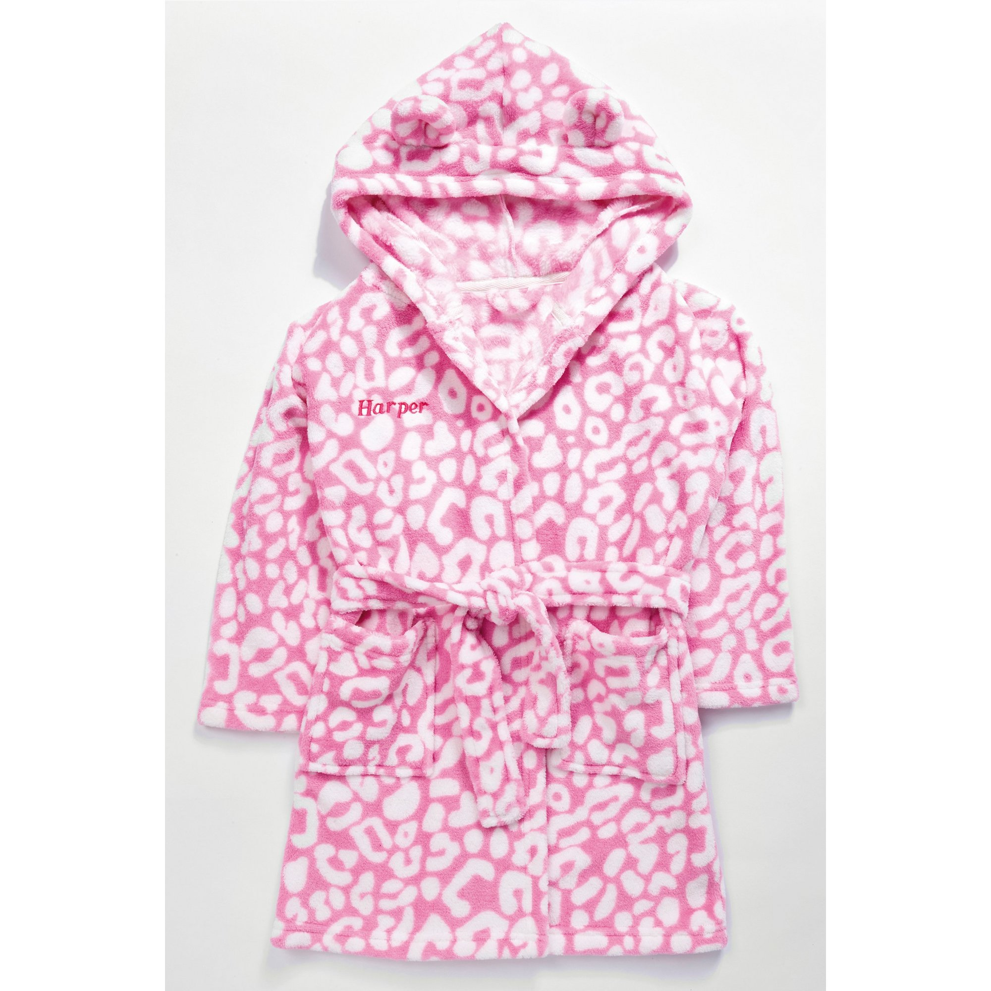 Image of Embroidered Personalised Girls Pink/White Supersoft Robe