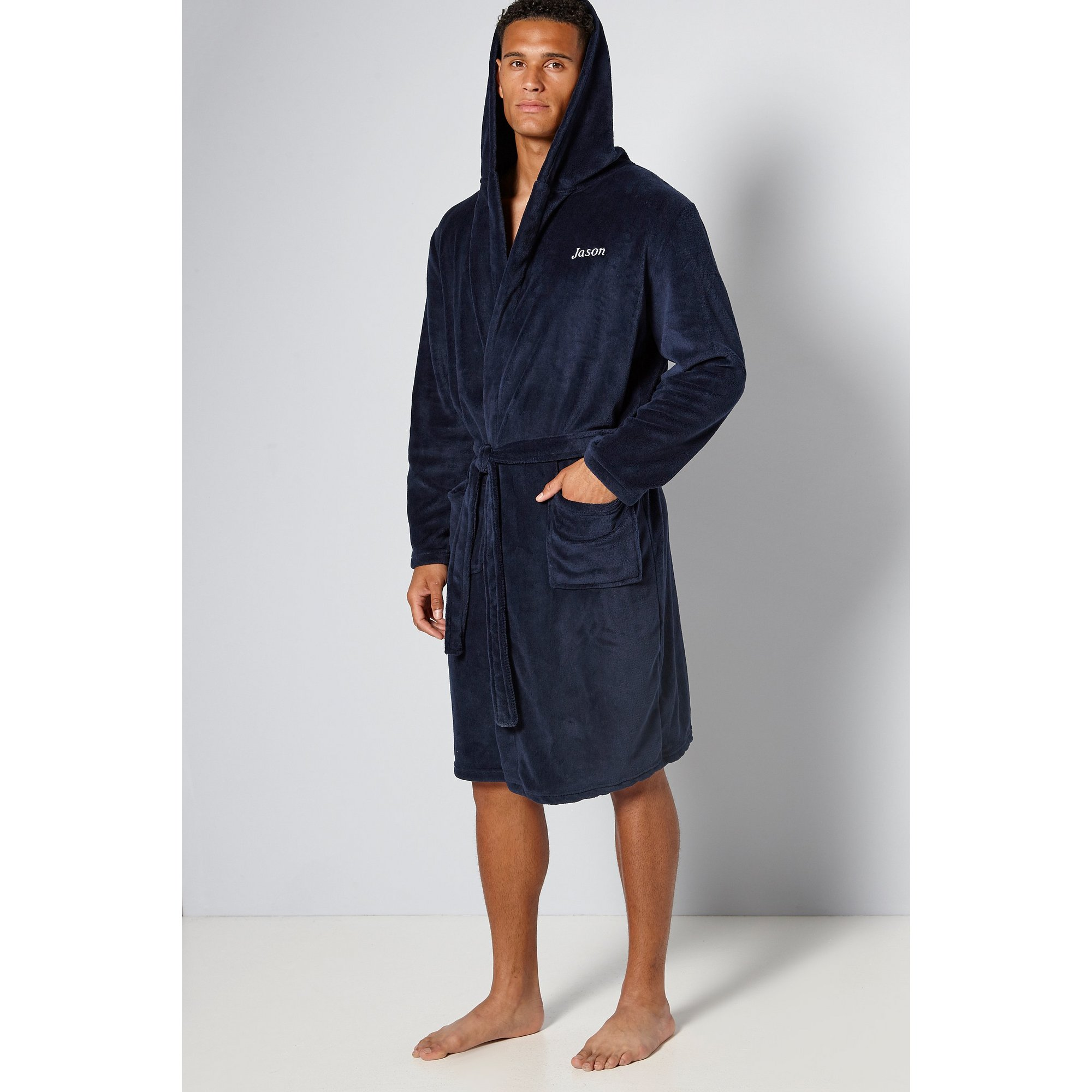 Image of Embroidered Personalised Hooded Dressing Gown