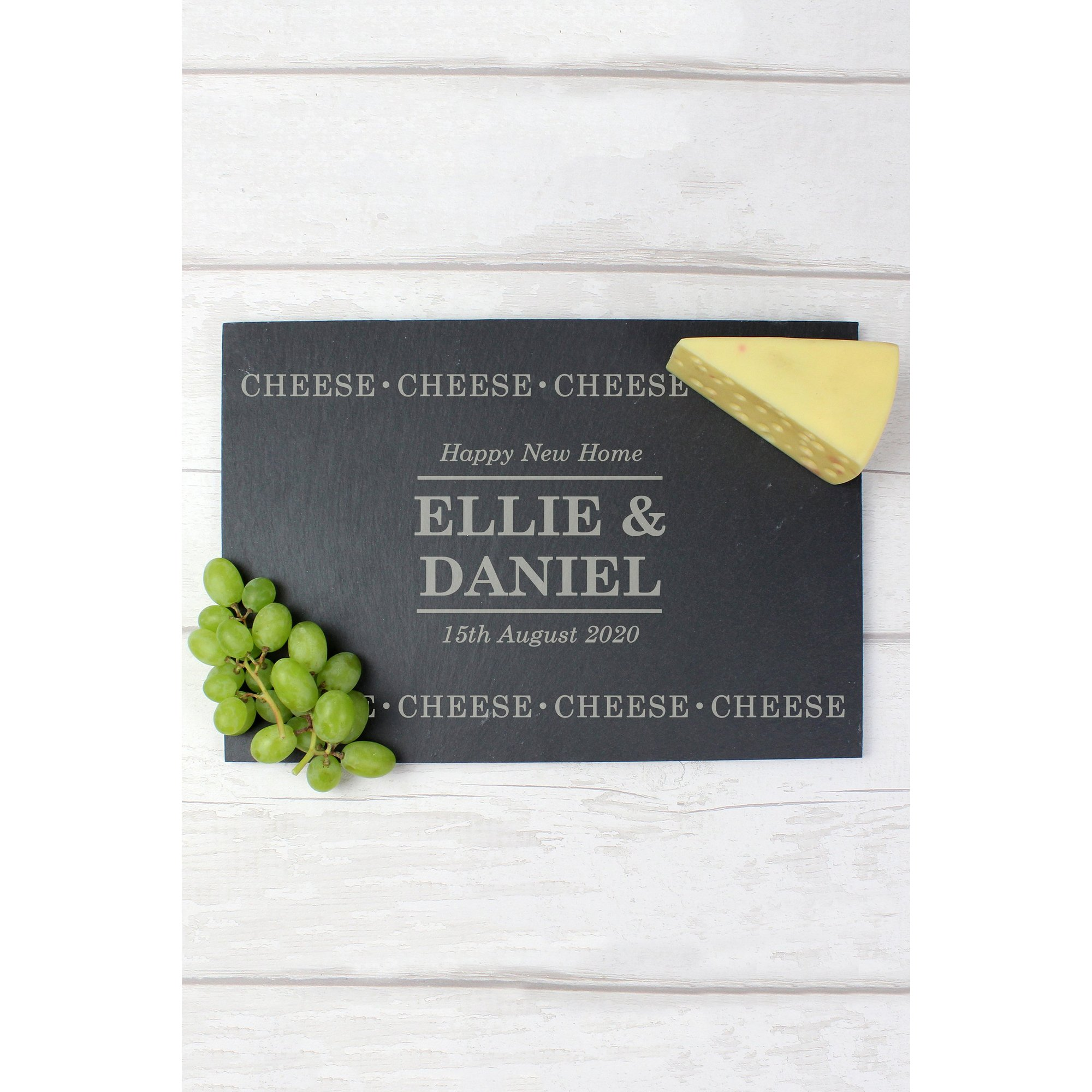Image of Personalised Cheese Cheese Cheese Slate Cheese Board