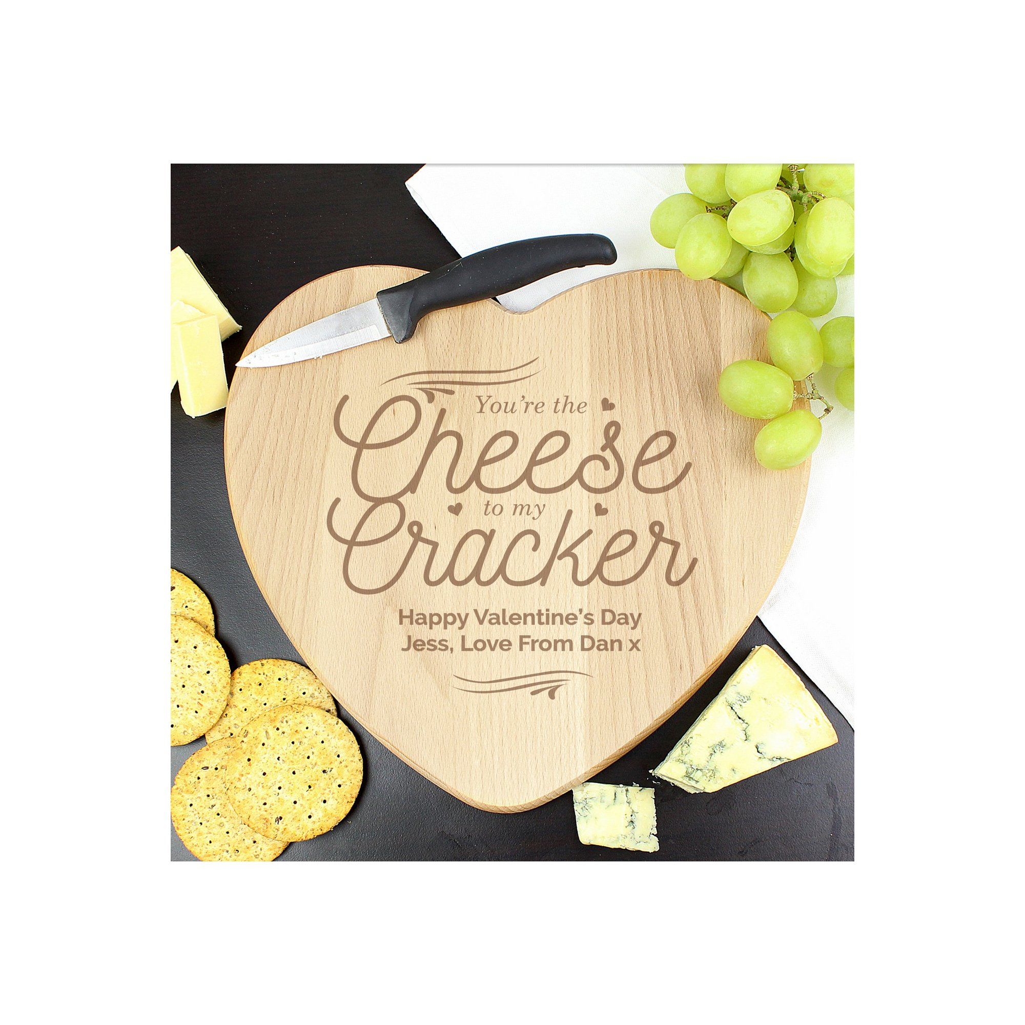 Image of Personalised Cheese to My Cracker Heart Shaped Cheese Board