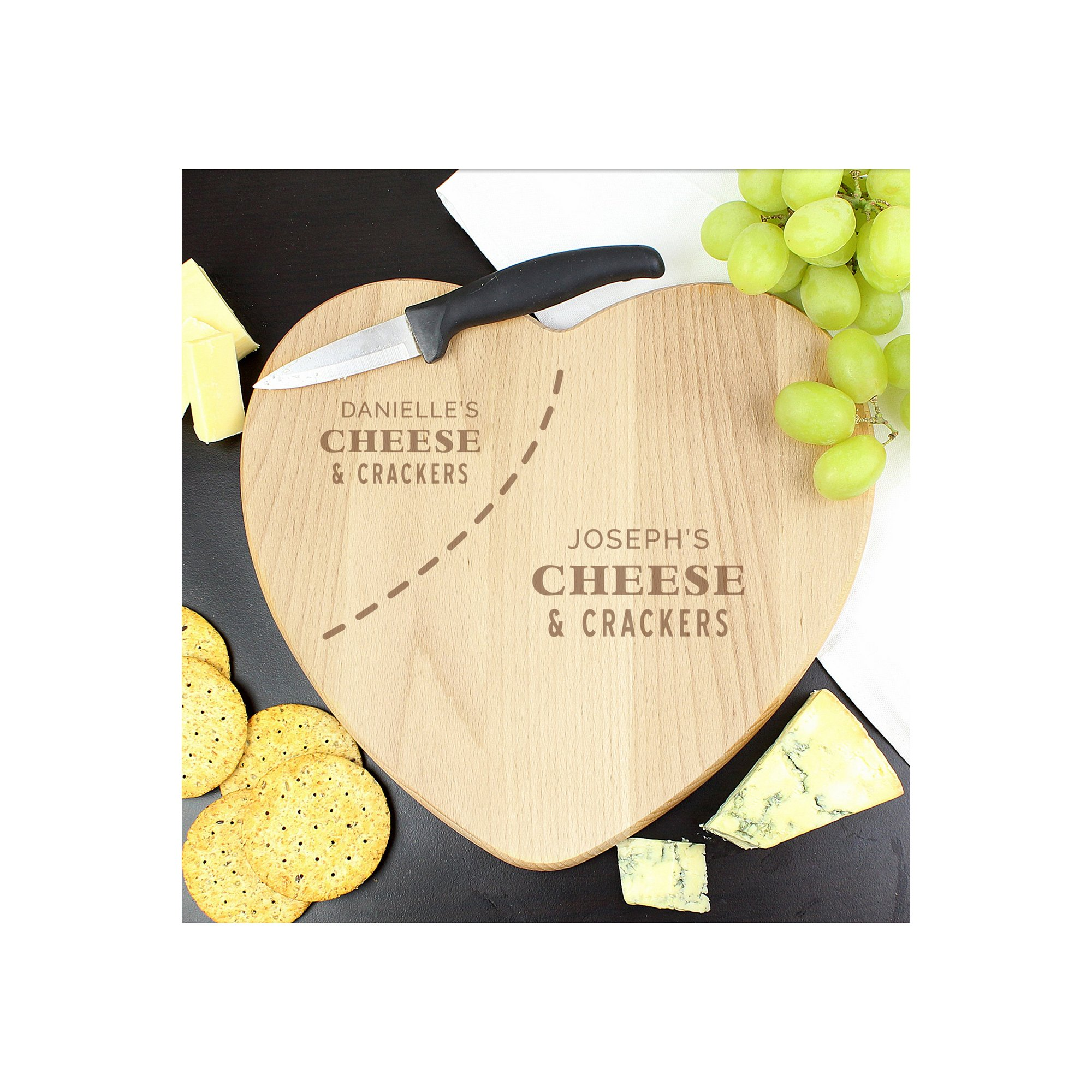 Image of Personalised Cheese and Crackers Heart Shaped Cheese Board