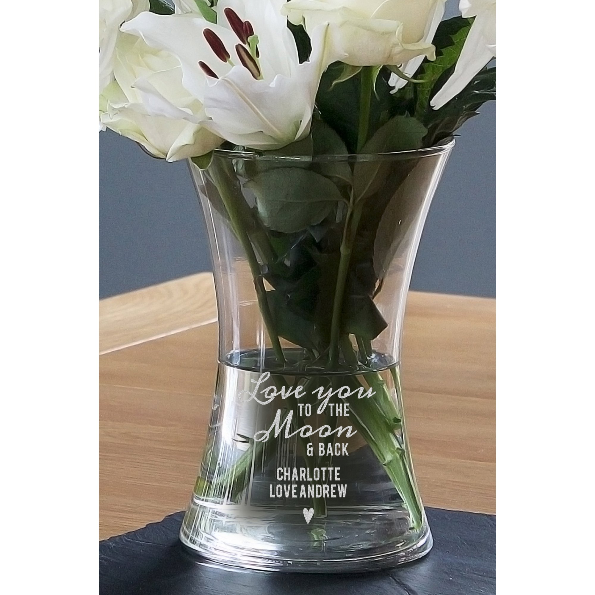 Image of Personalised Love You To The Moon and Back Glass Vase