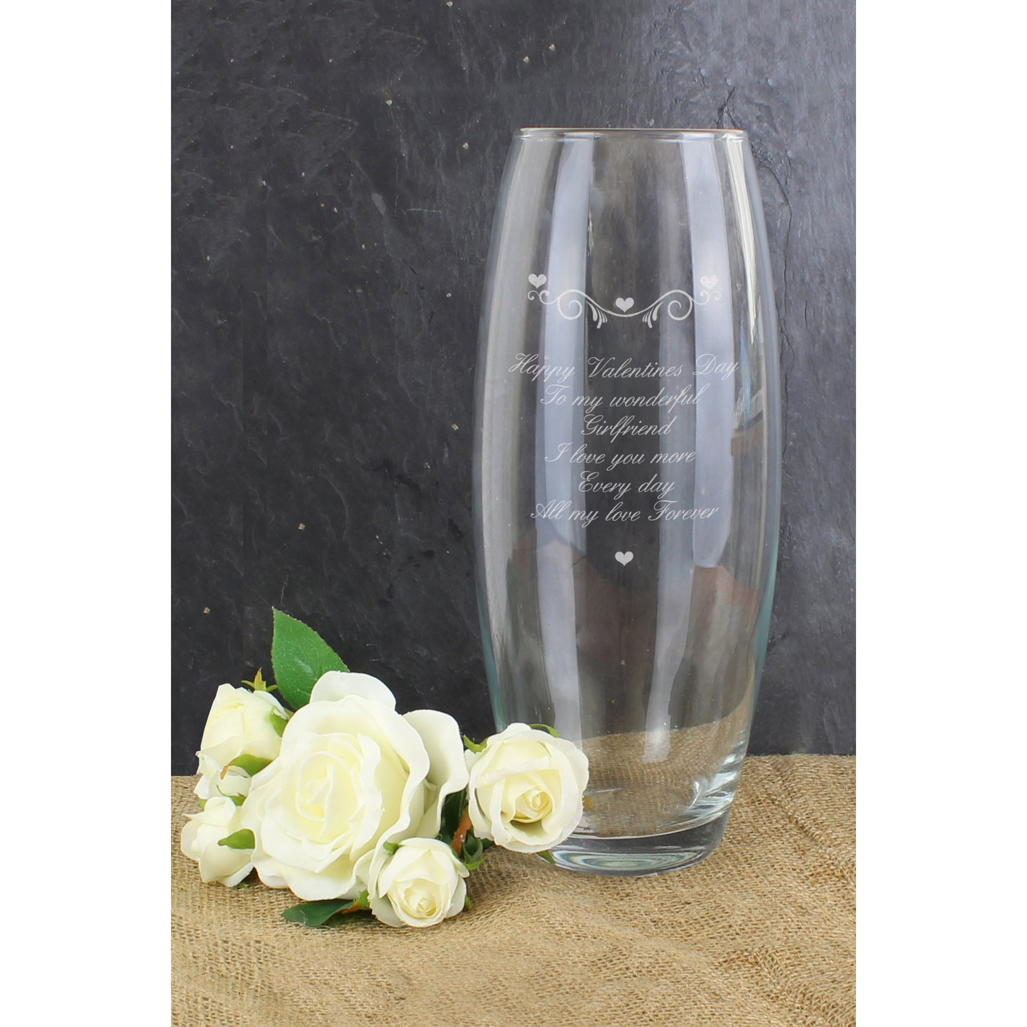 Image of Personalised Hearts and Swirls Bullet Vase