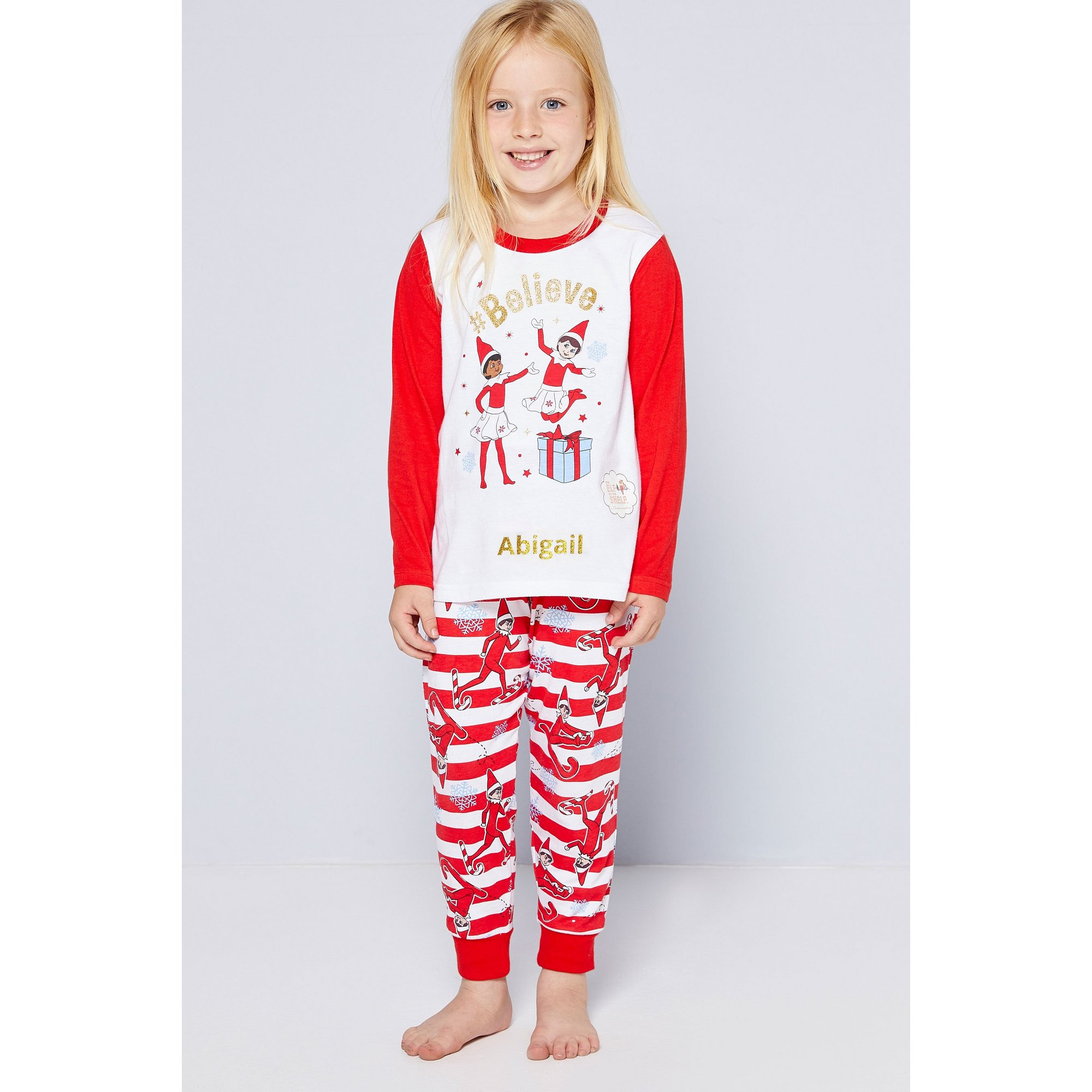 Image of Personalised Girls Family Elf On The Shelf Christmas Pyjamas