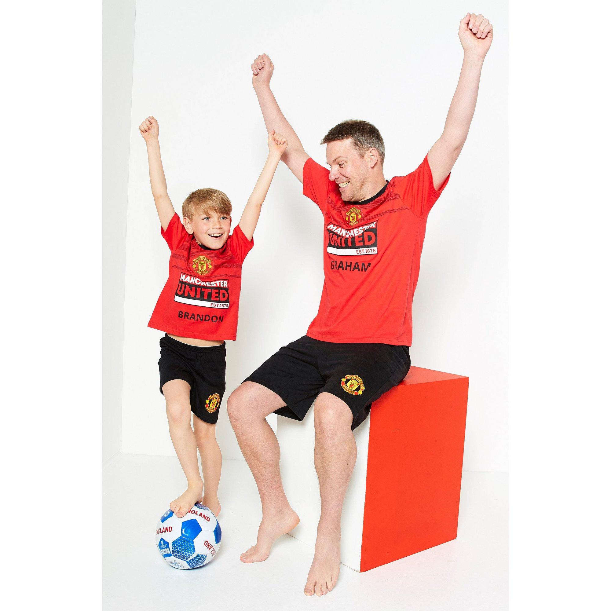 Image of Boys Mini Me Personalised Manchester United Short Pyjamas