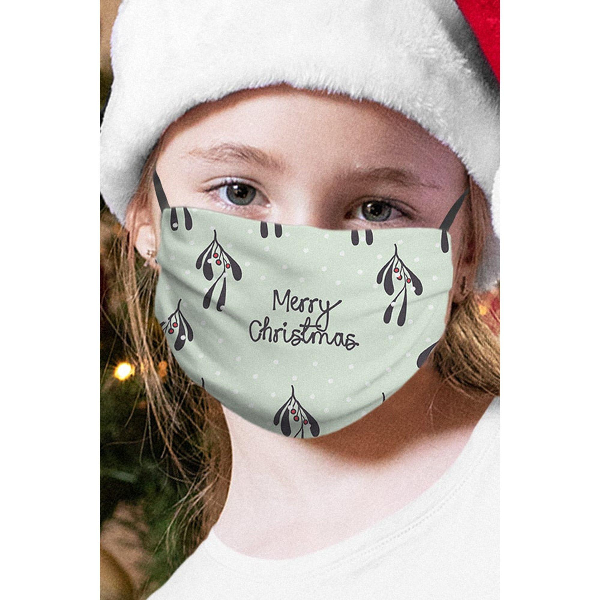 Image of Personalised Childs Face Mask Christmas Mistletoe