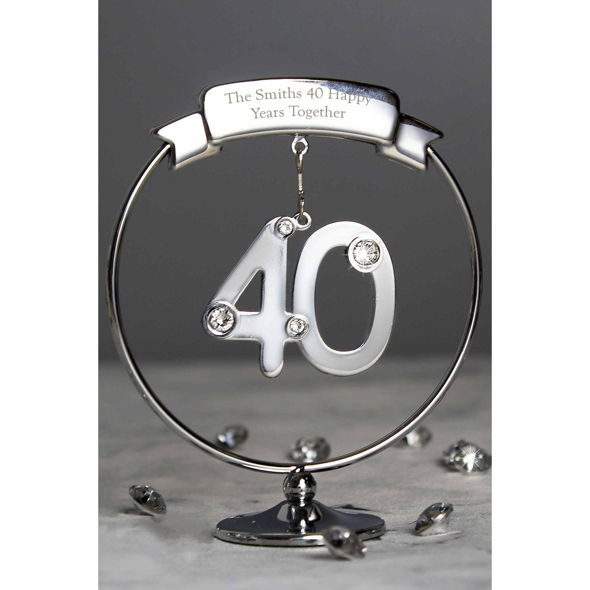 Image of Personalised Crystocraft 40th Celebration Ornament