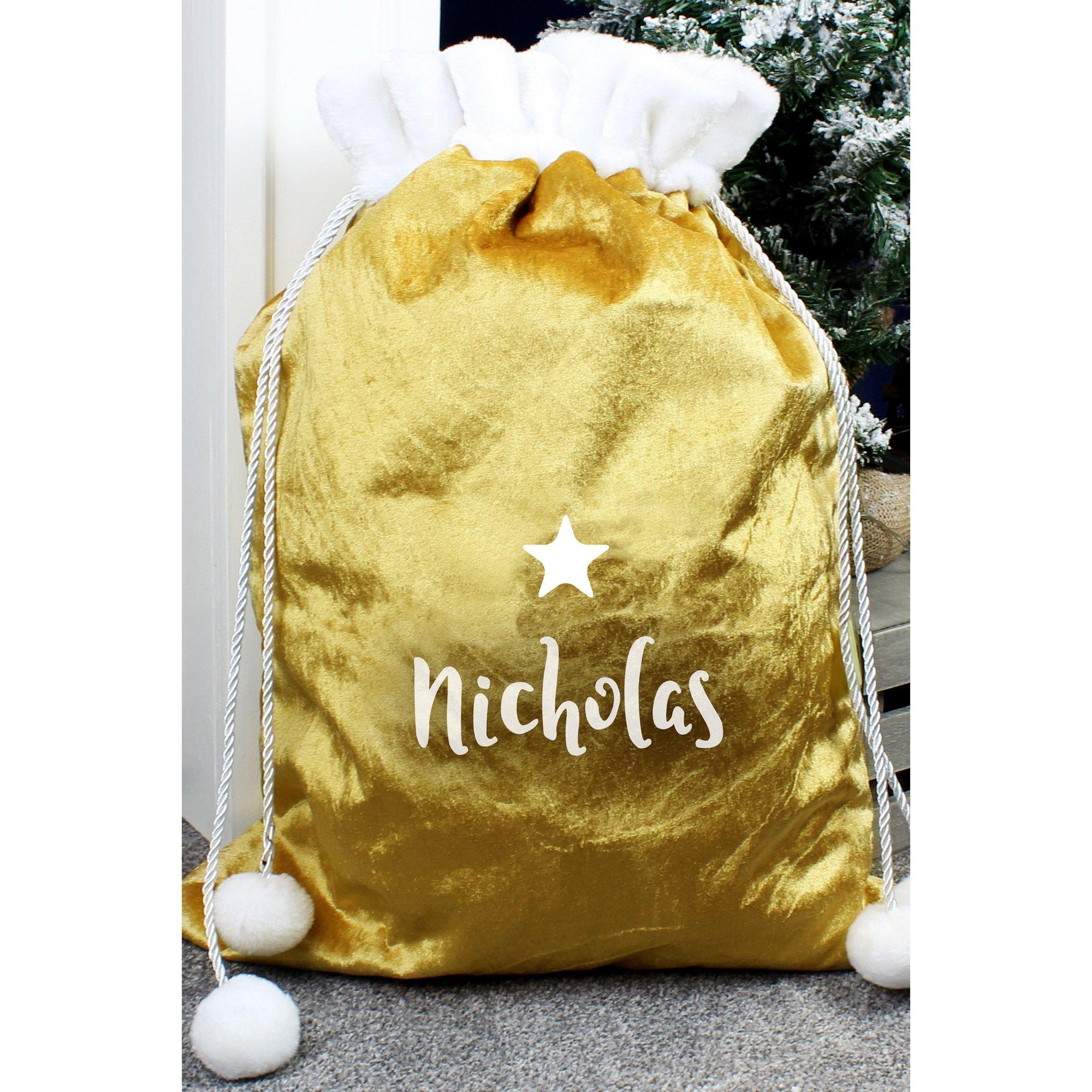 Image of Personalised Luxury Gold Pom Pom Sack