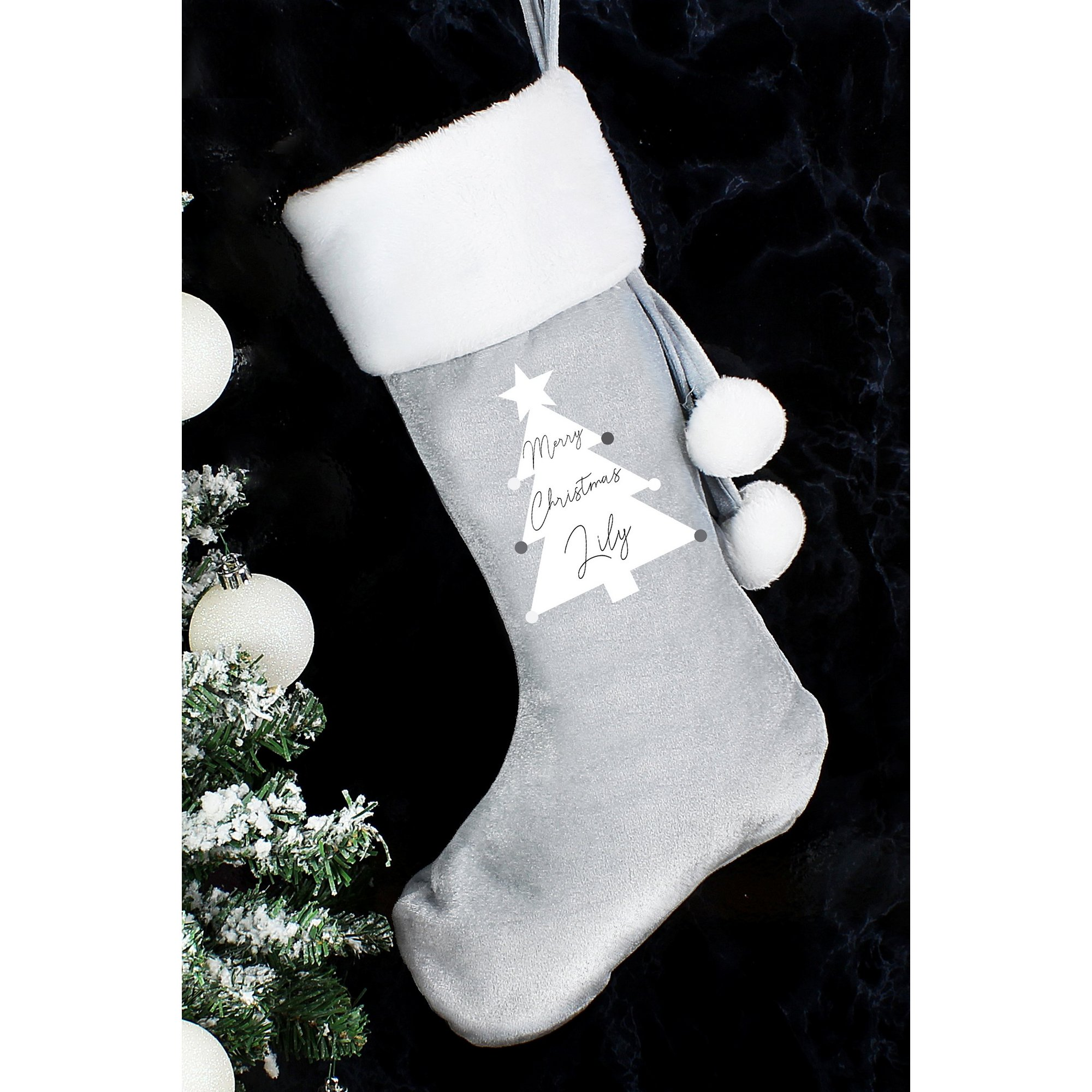 Image of Personalised Christmas Tree Luxury Silver Grey Stocking