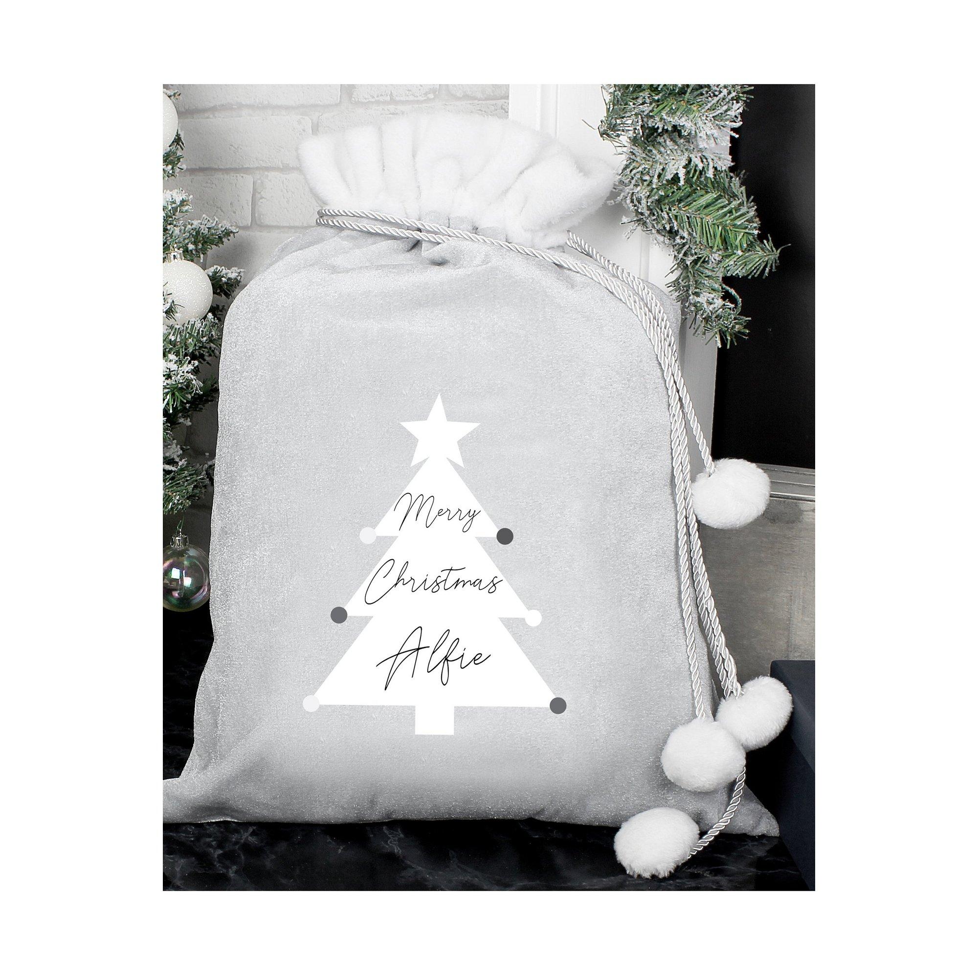 Image of Personalised Christmas Tree Luxury Silver Grey Pom Pom Sack