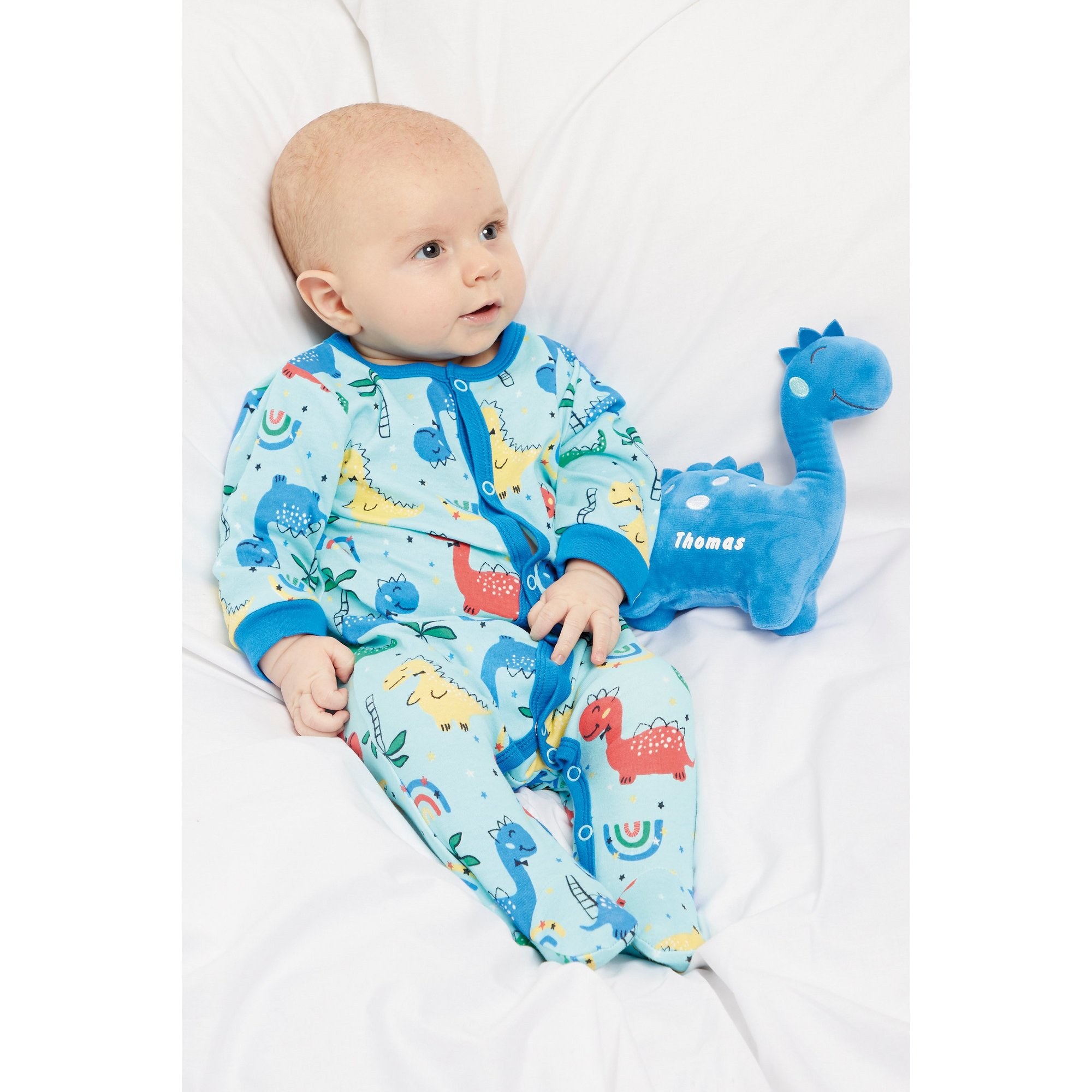 Image of Baby Boys 2 Piece Sleepsuit with Personalised Dinosaur Toy
