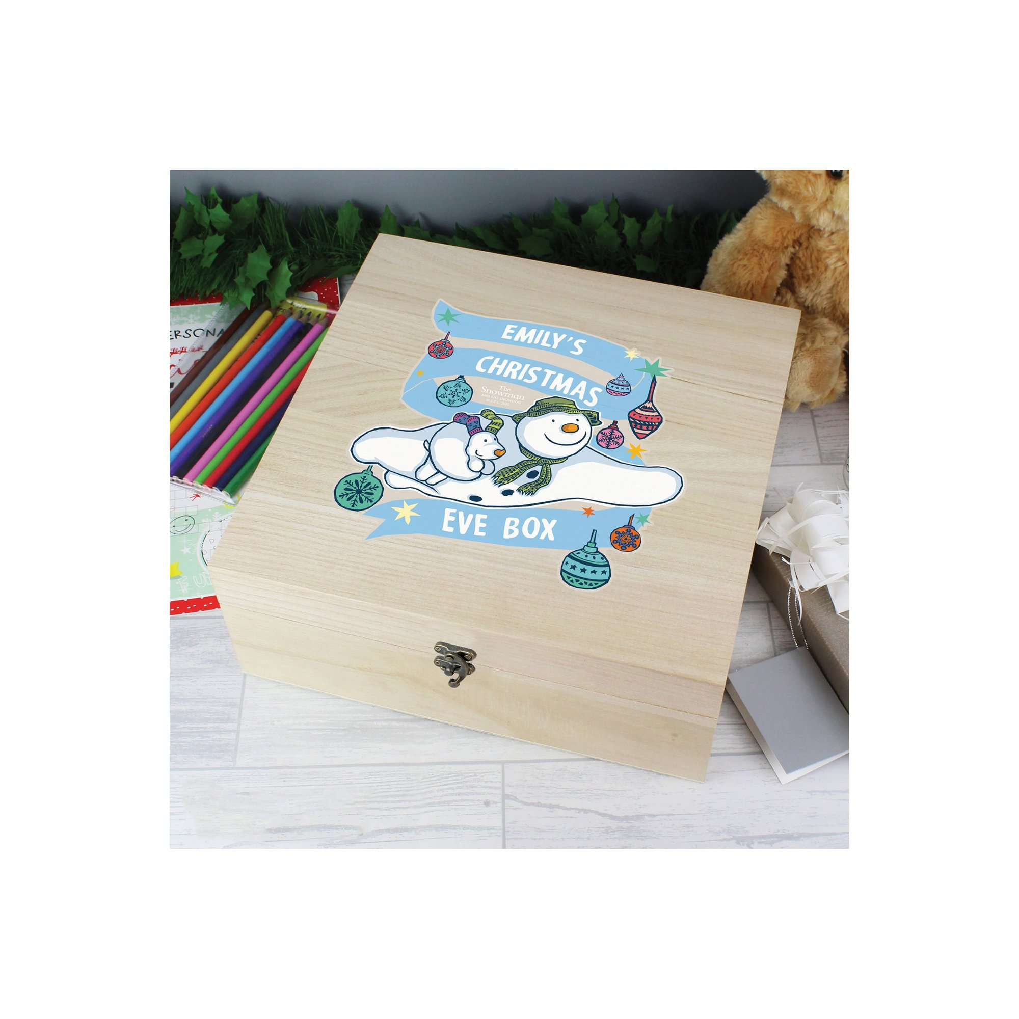 Image of Personalised Large Wooden Christmas Eve Box The Snowman and the S...
