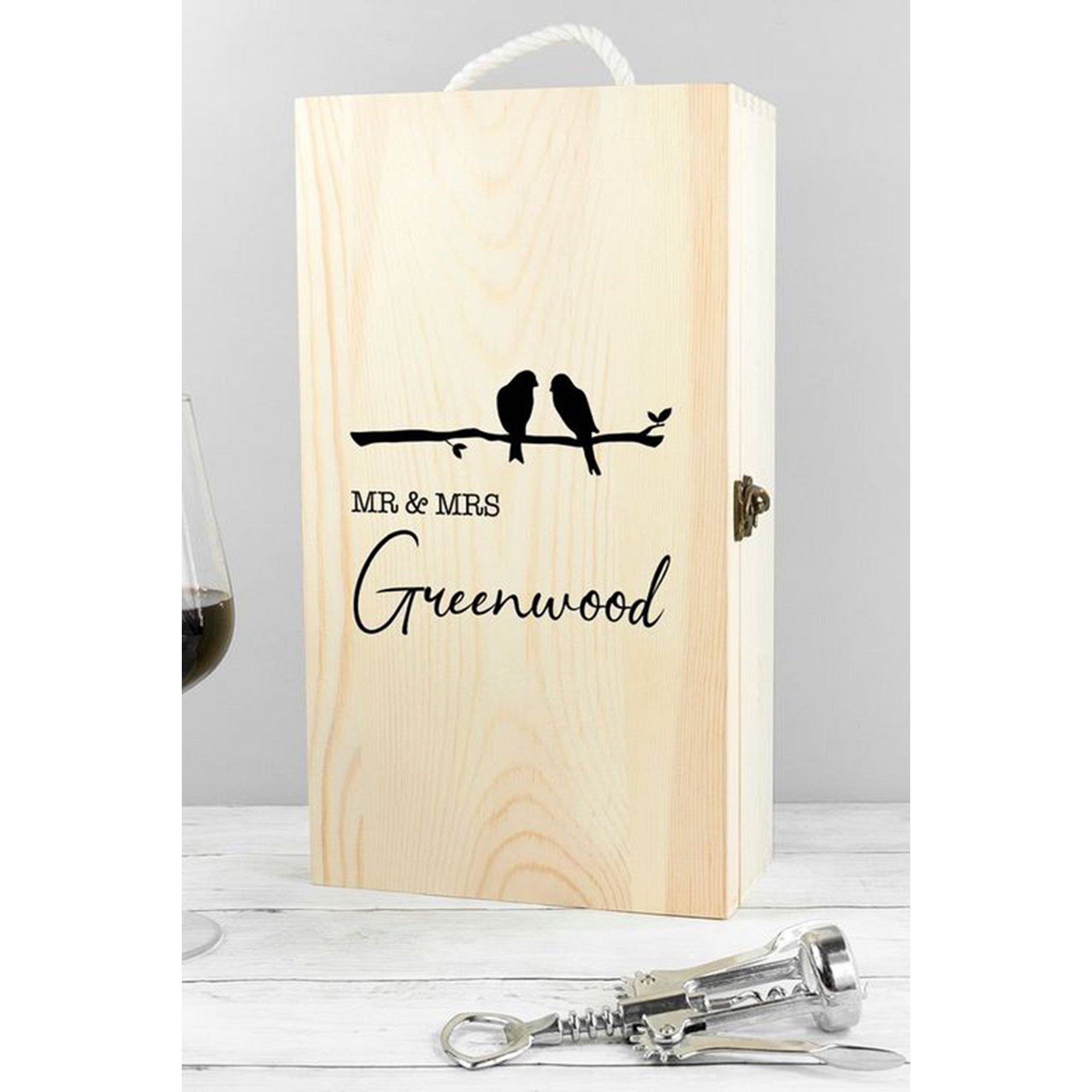 Image of Personalised Mr and Mrs Double Wine Box