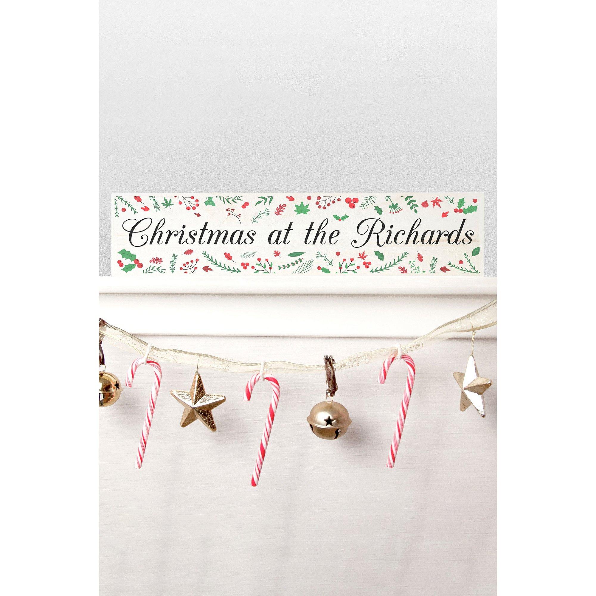 Image of Personalised Holly Festive Christmas Mantle Decoration