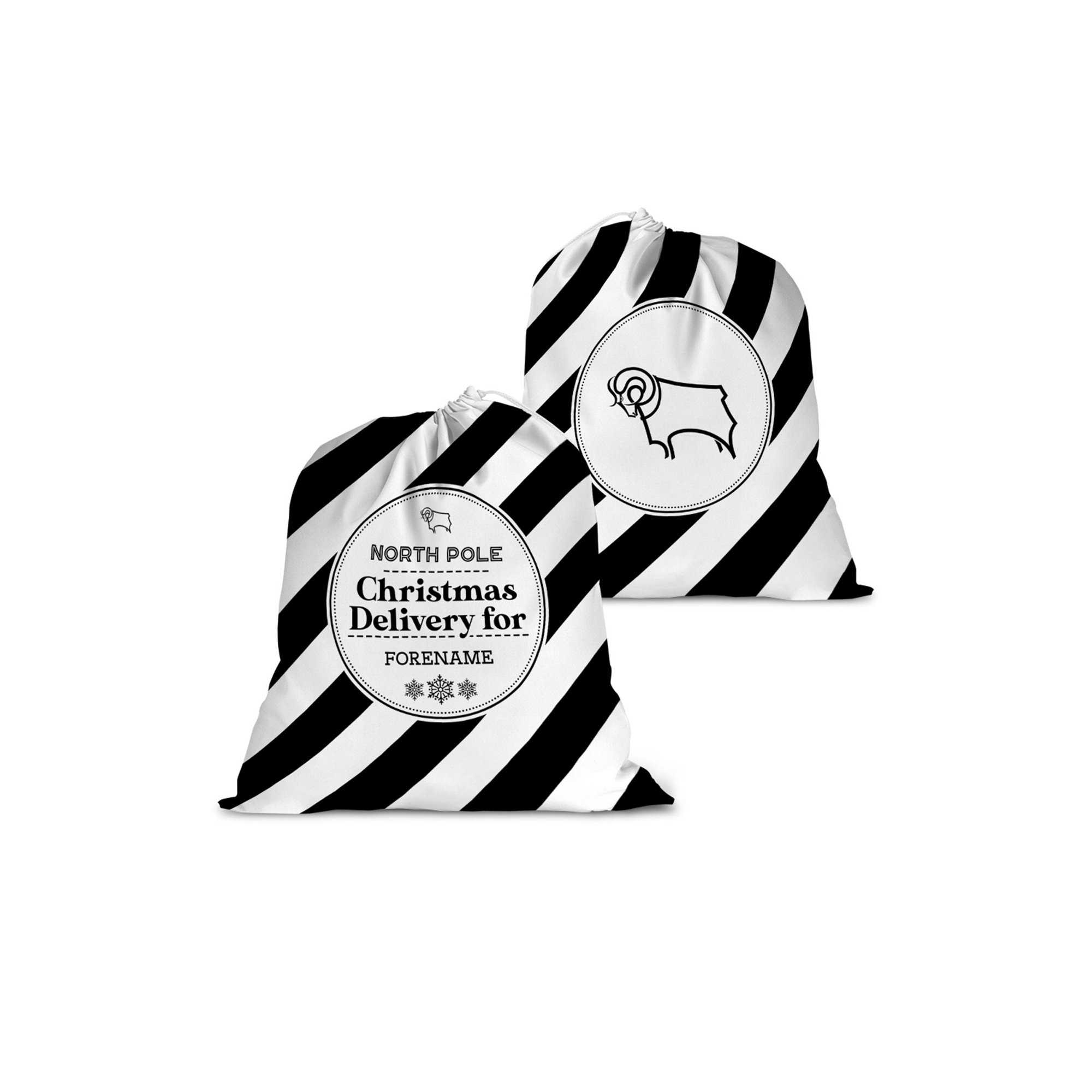 Image of Personalised Derby County Christmas Delivery Santa Sack