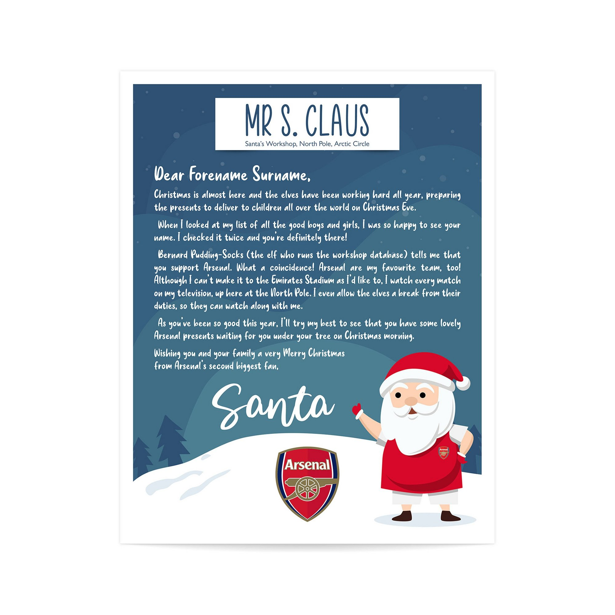 Image of Personalised Arsenal FC Letter from Santa