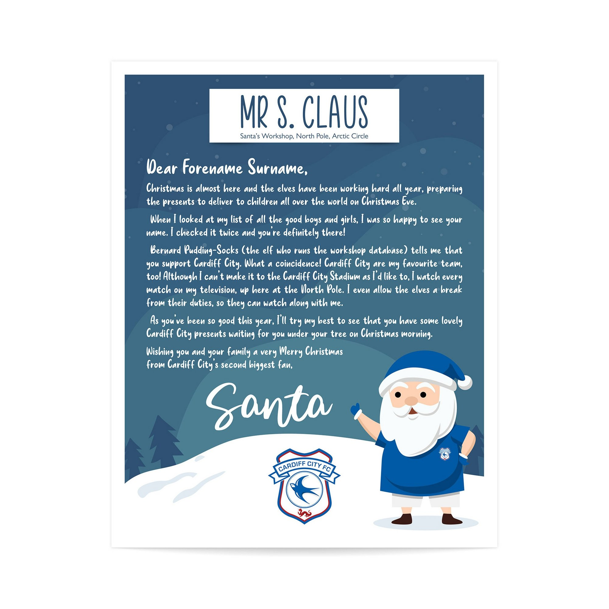 Image of Personalised Cardiff City FC Letter from Santa