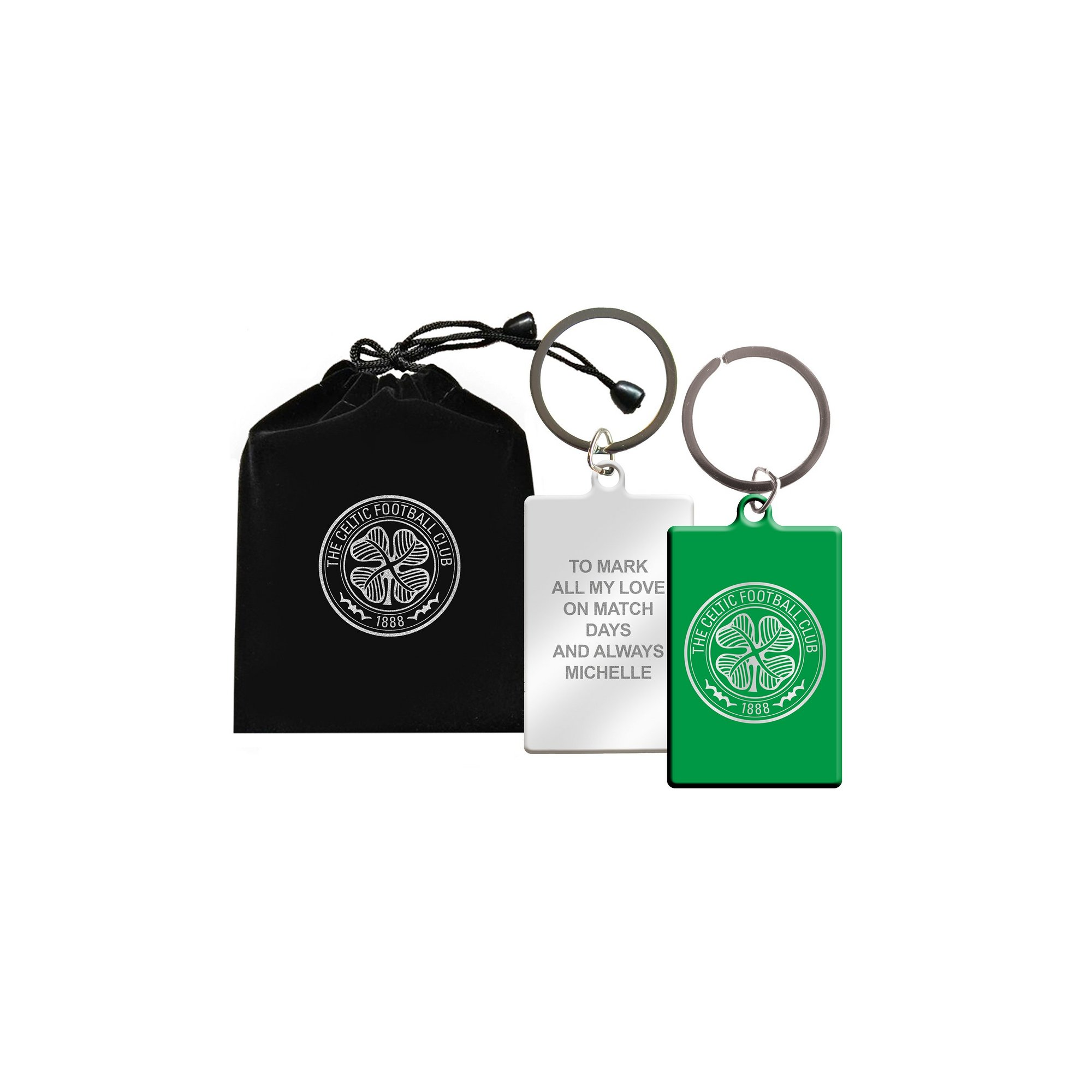 Image of Personalised Celtic FC Keyring in Gift Bag