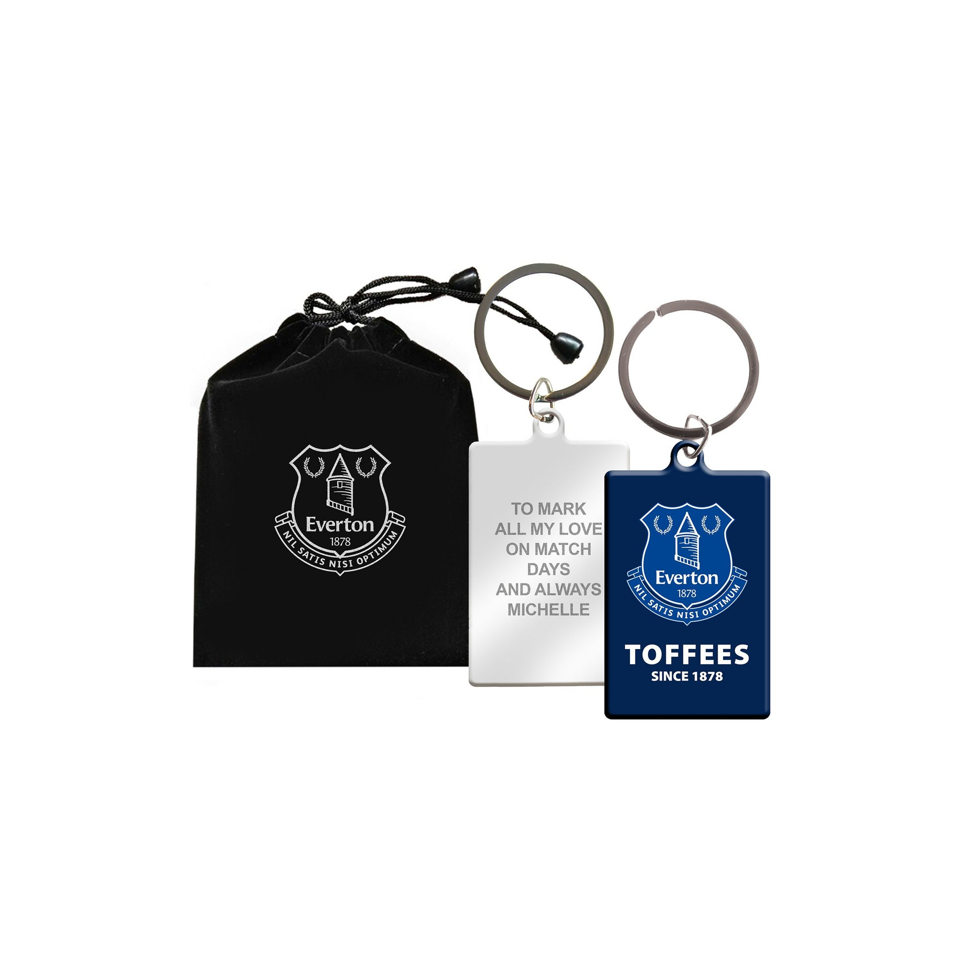 Image of Personalised Everton FC Keyring in Gift Bag