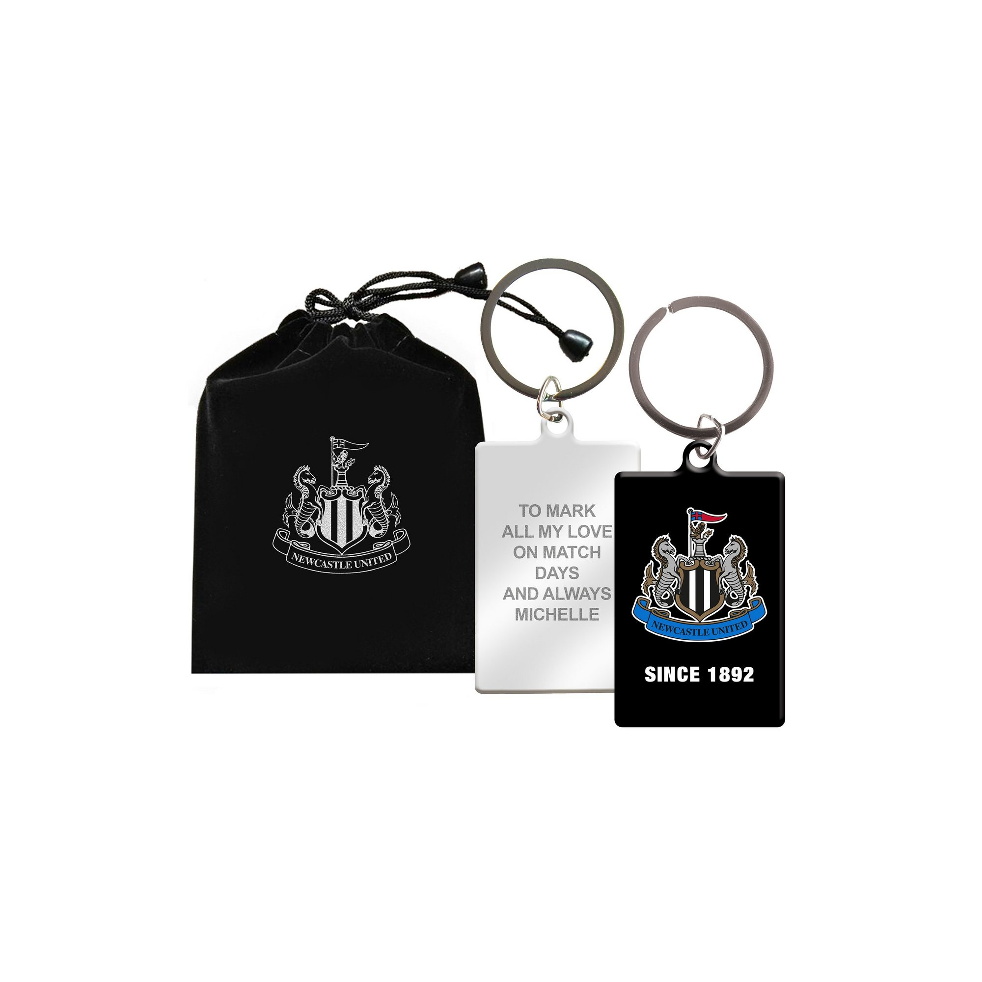 Image of Personalised Newcastle FC Keyring in Gift Bag