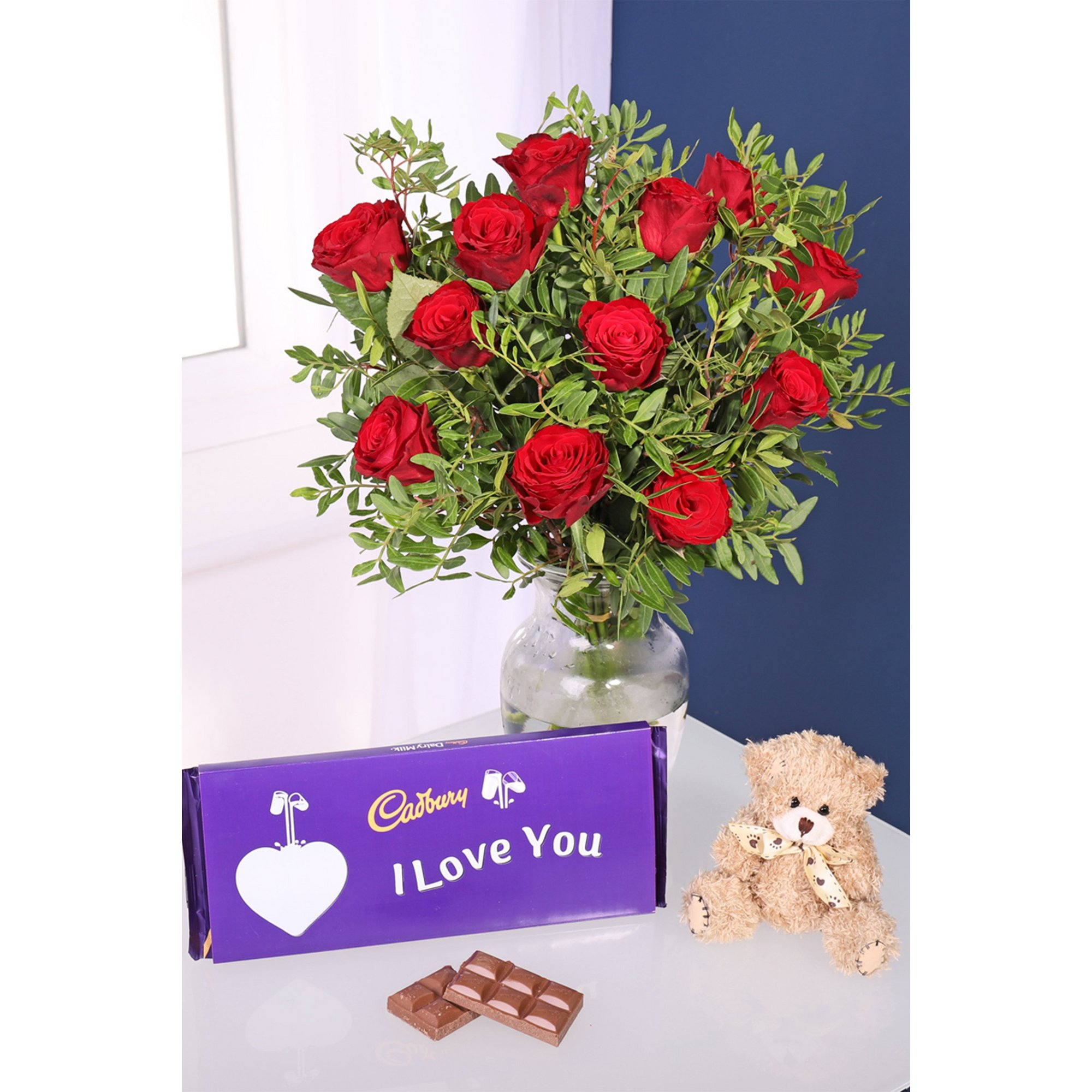 Image of Cadbury Red Roses Bouquet and Teddy Bear