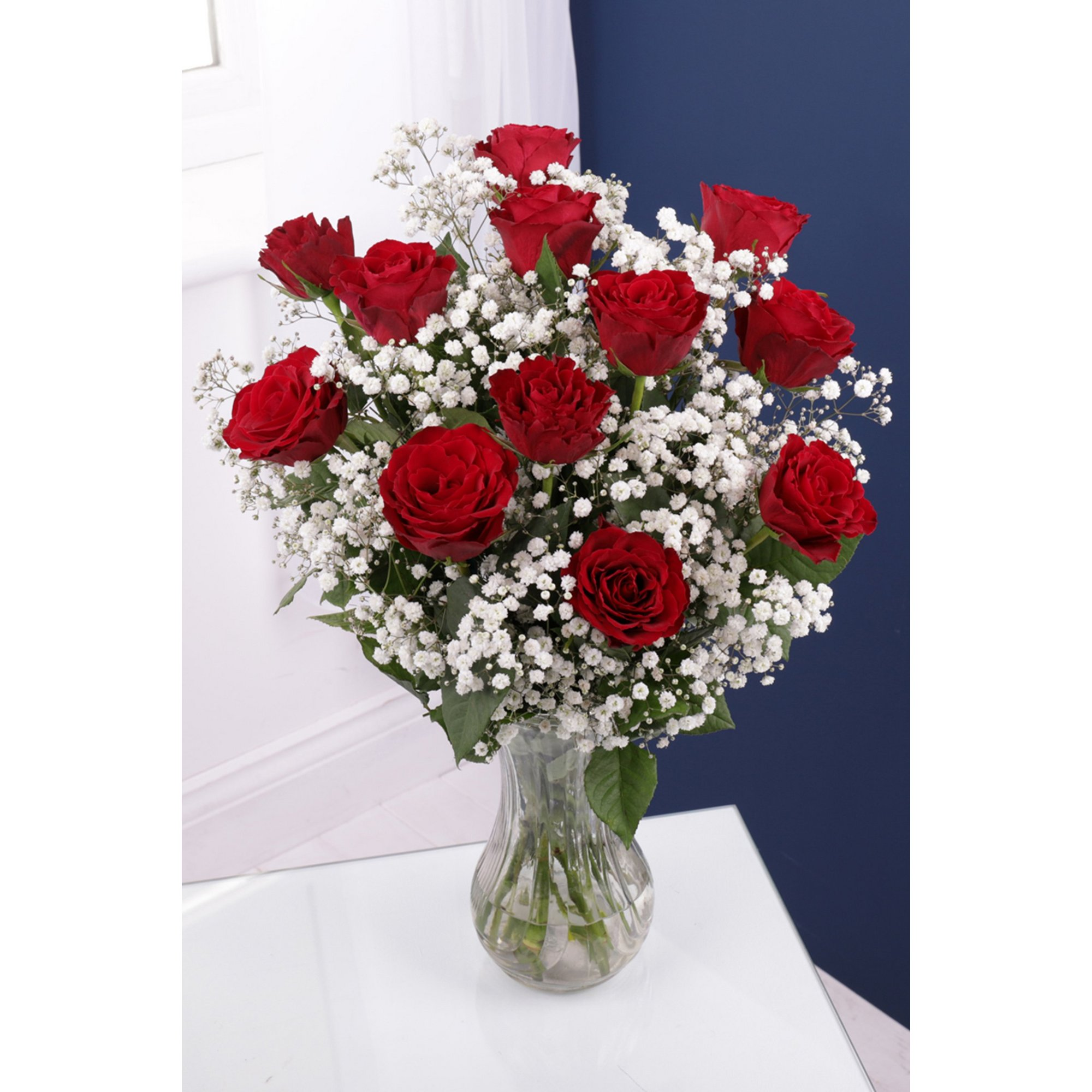 Image of 12 Red Roses and Gypsophila Bouquet